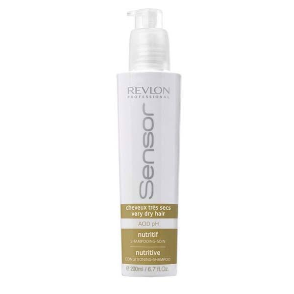 Revlon Sensor Питательный шампунь-кондиционер для очень сухих волос (Коричневый) Nutritive Conditioning-Shampoo 200 мл7205870000Средство полноценного ухода за сухими и ослабленными волосами. Активно и полно насыщает волосы влагой до максимального уровня, укрепляет кожный покров. Дарит блеск, силу и свежесть. Витамин Е препятствует окислению волос, а масло миндаля крепко удерживает влагу внутри волоса. Локоны получают упругость и внешний лоск.