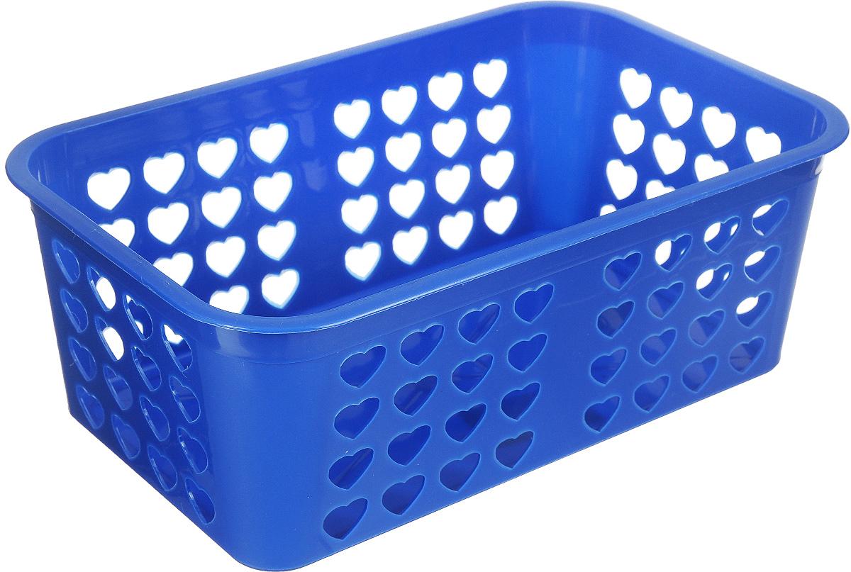 Корзина для хранения Альтернатива Вдохновение, цвет:синий, 26,5 х 16,5 х 10 смМ471Прямоугольная корзина Альтернатива Вдохновение, изготовленная из пластика, предназначена для хранения мелочей в ванной, на кухне, даче или гараже. Корзина со сплошным дном, оснащена перфорированными стенками. Элегантный выдержанный дизайн позволяет органично вписаться в ваш интерьер и стать его элементом.