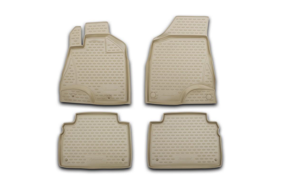 Набор автомобильных ковриков Novline-Autofamily для Hyundai Genesis 2008-, в салон, цвет: бежевый, 4 штNLC.20.31.212kНабор автомобильных ковриков Novline-Autofamily, изготовленный из полиуретана, состоит из 4 ковриков, которые учитывают все особенности каждой модели автомобиля и полностью повторяют контуры пола. Полиуретановые автомобильные коврики для салона произведены из высококачественного материала, который держит форму, прочный и не пачкает обувь. Коврики в салон не только улучшат внешний вид салона вашего автомобиля, но и надежно уберегут его от пыли, грязи и сырости, а значит, защитят кузов от коррозии. Полиуретановые коврики для автомобиля гладкие, приятные и не пропускают влагу. Ковры для автомобилей надежно крепятся на полу и не скользят, что очень важно во время движения. Чистятся коврики очень просто: как при помощи автомобильного пылесоса, так и различными моющими средствами. Набор подходит для Hyundai Genesis с 2008 года выпуска.