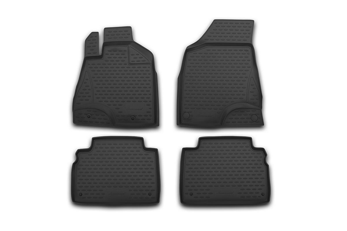 Набор автомобильных 3D-ковриков Novline-Autofamily для Hyundai i20, 2009->, в салон, 4 штNLC.3D.20.32.210hНабор Novline-Autofamily состоит из 4 ковриков, изготовленных из полиуретана. Основная функция ковров - защита салона автомобиля от загрязнения и влаги. Это достигается за счет высоких бортов, перемычки на тоннель заднего ряда сидений, элементов формы и текстуры, свойств материала, а также запатентованной технологией 3D-перемычки в зоне отдыха ноги водителя, что обеспечивает дополнительную защиту, сохраняя салон автомобиля в первозданном виде. Материал, из которого сделаны коврики, обладает антискользящими свойствами. Для фиксации ковров в салоне автомобиля в комплекте с ними используются специальные крепежи. Форма передней части водительского ковра, уходящая под педаль акселератора, исключает нештатное заедание педалей. Набор подходит для Hyundai i20 с 2009 года выпуска.