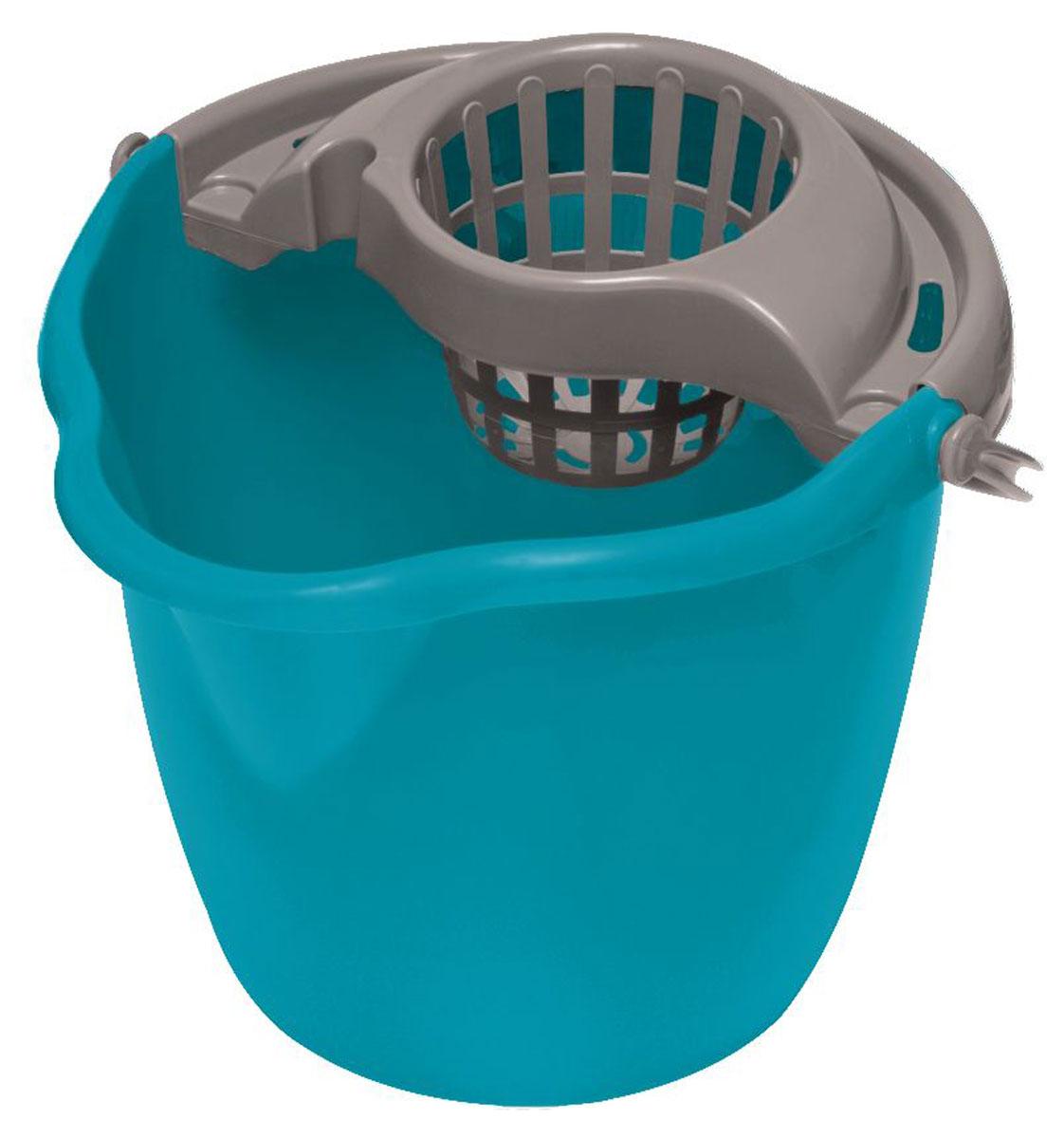 Ведро для уборки York, с насадкой для отжима швабры, цвет: бирюзовый, серый, 12 л7005_бирюзовый, серыйВедро York, изготовленное из прочного полипропилена, порадует практичных хозяек. Изделие снабжено специальной насадкой, которая обеспечивает интенсивный отжим ленточных швабр. Это значительно уменьшает физические нагрузки при мытье полов. Насадка надежно крепится на ведро и также легко снимается, позволяя хранить ее отдельно. Для удобного использования ведро оснащено эргономичной ручкой. Размер ведра (по верхнему краю): 33 х 30 см. Высота: 27 см.