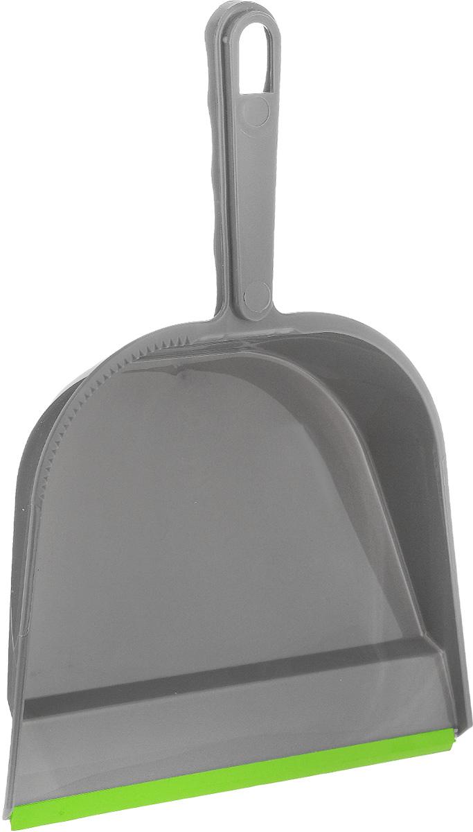 Совок York, с резиновым краем, цвет: серый, светло-зеленый6102Совок York, выполненный из сложных полимеров, предназначен для сбора мусора и пыли при уборке помещений. Он оснащен эргономичной ручкой с петлей, которая позволит повесить изделие на крючок. Благодаря резиновому краю совка, в него легко сметать грязь и мусор. Размер рабочей части: 22,5 х 19 см. Длина ручки: 12 см.