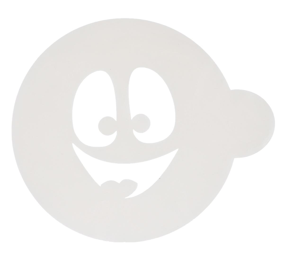 Трафарет на кофе и десерты Леденцовая фабрика Смайлик 3, диаметр 10 смТ019Трафарет Леденцовая фабрика Смайлик 3 представляет собой пластину с прорезями, через которые пищевая краска (сахарная пудра, какао, шоколад, сливки, корица, дробленый орех) наносится на поверхность кофе, молочных коктейлей, десертов. Изделие изготовлено из матового пищевого пластика 250 мкм и пригодно для контакта с пищевыми продуктами. Трафарет многоразовый. Побалуйте себя и ваших близких красиво оформленным кофе. Диаметр трафарета: 10 см.