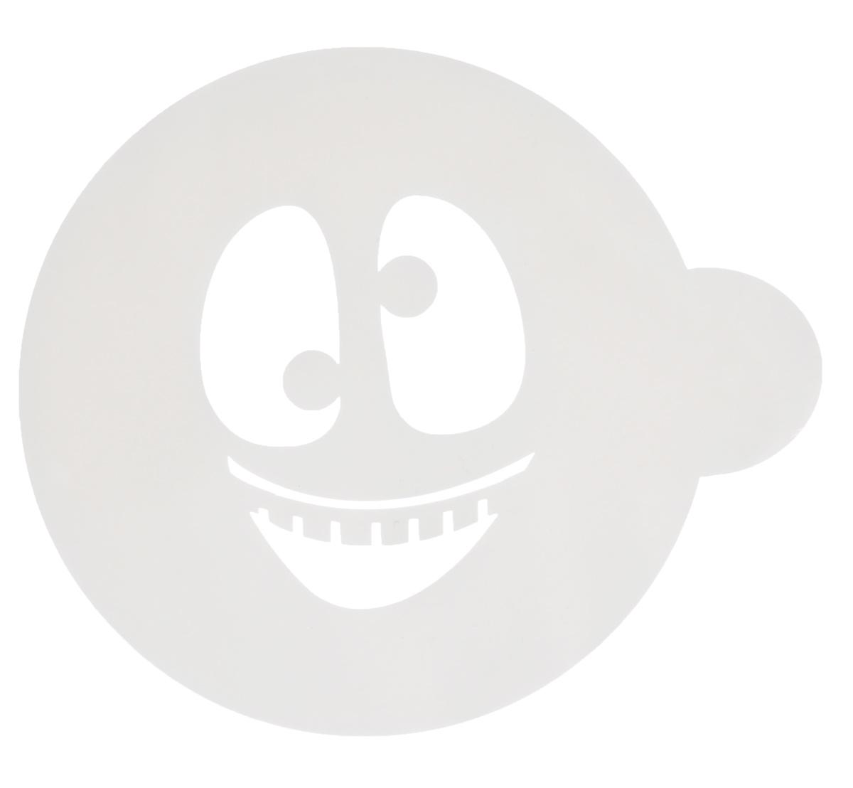 Трафарет на кофе и десерты Леденцовая фабрика Смайлик 2, диаметр 10 смТ018Трафарет Леденцовая фабрика Смайлик 2 представляет собой пластину с прорезями, через которые пищевая краска (сахарная пудра, какао, шоколад, сливки, корица, дробленый орех) наносится на поверхность кофе, молочных коктейлей, десертов. Изделие изготовлено из матового пищевого пластика 250 мкм и пригодно для контакта с пищевыми продуктами. Трафарет многоразовый. Побалуйте себя и ваших близких красиво оформленным кофе. Диаметр трафарета: 10 см.