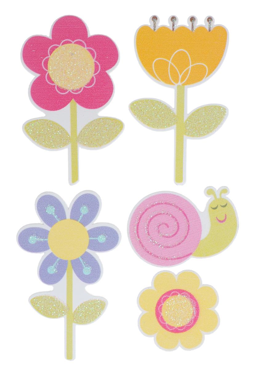Набор декоративных элементов Hobby Time Цветы, 5 шт. 77132287713228Набор Hobby Time Цветы состоит из 5 декоративных элементов, выполненных из дерева в виде цветов и улитки. Задняя сторона изделий клейкая. Такой набор может пригодиться в оформлении предметов интерьера, подарков, открыток, цветочных букетов, а также в скрапбукинге. Необычные декоративные элементы добавят индивидуальности вашей творческой работе. Размер самого большого элемента: 5,2 х 3,5 см. Размер самого маленького элемента: 2,8 х 2,8 см.