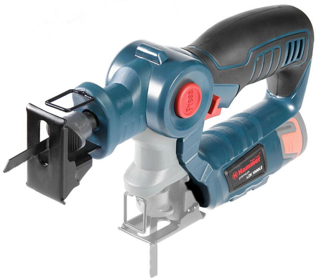 Аккумуляторный лобзик-сабельная пила Hammer LZK1000LE PREMIUM (без АКБ)134414Универсальный аккумуляторный лобзик предназначен для прямо- и криволинейного распила древесных, полимерных и металлических материалов. Функциональные особенности: три режима работы (вдоль, поперек и под углом) Конструктивные особенности: литое основание; двойная система изоляции; электронная регулировка хода; маятниковый ход; пылесос - Уникальный инструмент - 2-в-1, лобзик и сабельная пила. - Универсальный аккумулятор серии LE. - Быстрозажимной механизм крепления пилки. - Регулировка скорости движения пилки. - Максимальная глубина пиления: - дерево 30мм - ПВХ трубы 16мм - металл 3мм Комплектация: - лобзик - пилка по металлу - пилка по дереву - инструкция Аккумулятор в комплект не входит!