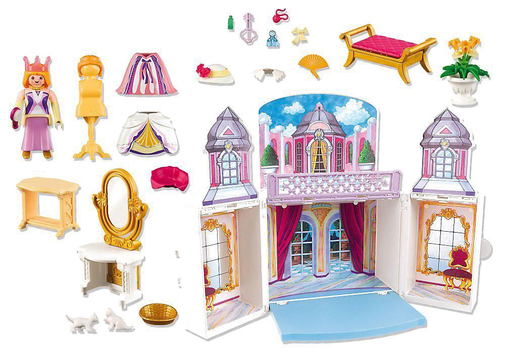 Playmobil Игровой набор Королевский дворец5419pmИгровой набор Playmobil Королевский дворец - надолго займет внимание вашего ребенка. В комплект входит: домик в виде замка, принцесса, одежда, мебельные предметы, кошачьи фигурки, другие аксессуары. Проигрывая самостоятельно или в дружеской компании различные ситуации, дети тем самым развивают фантазию и воображение. В процессе игры развивается моторика детских пальчиков и координация движений.