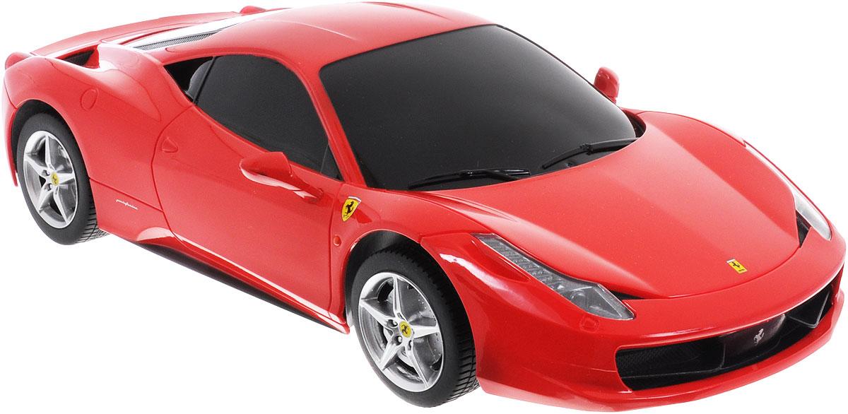 Rastar Радиоуправляемая модель Ferrari 458 Italia цвет красный масштаб 1:18 53400-853400-8Радиоуправляемая модель Rastar Ferrari 458 Italia станет отличным подарком любому мальчику! Все дети хотят иметь в наборе своих игрушек ослепительные, невероятные и модные автомобили на радиоуправлении. Тем более, если это автомобиль известной марки с проработкой всех деталей, удивляющий приятным качеством и видом. Одной из таких моделей является автомобиль на радиоуправлении Rastar Ferrari 458 Italia. Это точная копия настоящего авто в масштабе 1:18. Авто обладает неповторимым провокационным стилем и спортивным характером. Потрясающая маневренность, динамика и покладистость - отличительные качества этой модели. Возможные движения: вперед, назад, вправо, влево, остановка. При движении загораются фары и стоп-сигналы. Пульт управления выполнен в виде полнофункционального руля с переключателем передач, кнопками акселератора, тормоза, клаксона. При повороте руля возникает звуковой эффект ритмичного тиканья, и машина поворачивает. При нажатии на клаксон раздается звуковой...