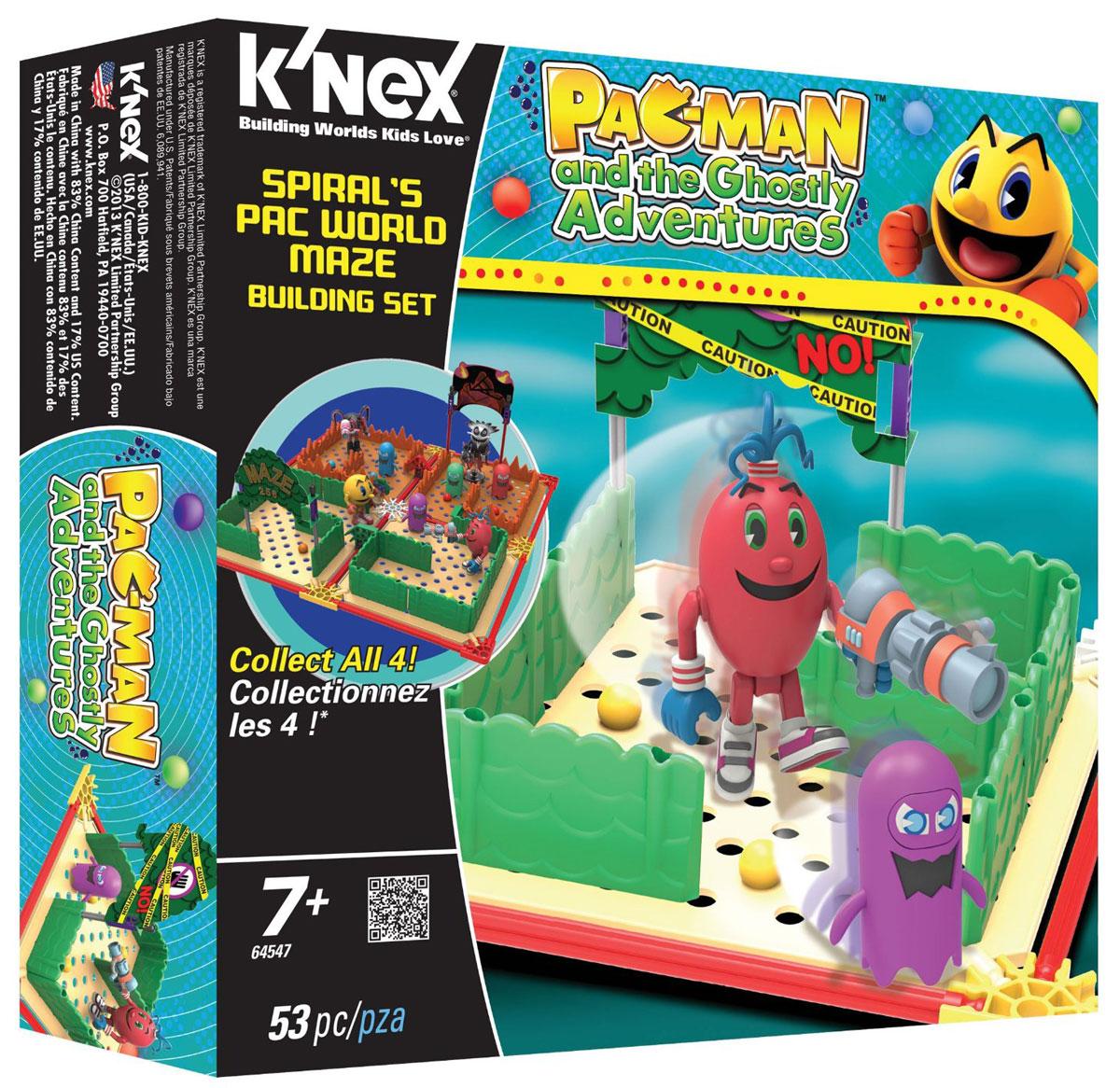 Knex Конструктор Spirals Pac World Maze64819/521/522/523/547Конструктор Knex Spirals Pac World Maze обязательно понравится вашему малышу. Из элементов конструктора можно построить лабиринт из мультфильма Pac Man and the Ghostly Adventures, после чего можно будет охотиться в нем на злых призраков. Чтобы играть было еще интереснее, можно собрать и объединить все четыре набора, чтобы создать гигантский лабиринт и воссоздать некоторые из самых удивительных батальных сцен мультфильма! Все элементы конструктора выполнены из прочного безопасного пластика. Игра с конструктором поможет развить конструкционное мышление. Также, обыгрывая с забавными человечками различные ситуации, малыш сможет развить логику, мелкую моторику ручек и тактильное восприятие. Порадуйте своего ребенка таким замечательным подарком!