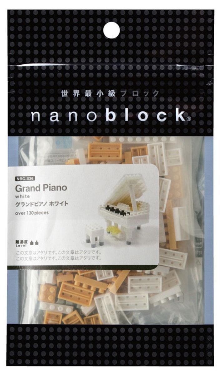 NanoBlock Мини-конструктор Белый рояльNBC_053Мини-конструктор Белый рояль - увлекательнейший способ времяпрепровождения. Набор включает подставку, более 130 пластиковых элементов (в том числе запасные) и цветную графическую инструкцию-схему сборки. Из деталей конструктора собирается мини-модель великолепного белого рояля и табурет для него. Конструктор nanoBlock - самый маленький в мире конструктор, крайне необычный, как все японское. Высокоточные трехмерные модели из деталей подобных Лего, но предельно уменьшенных в размерах, стали хитом в Японии и буквально произвели фурор в Америке, Европе, Азии и Австралии. Самая маленькая деталь конструктора - 4 мм х 4 мм, а классический прямоугольный элемент 2-на-4 точки имеет размер 8 мм х 16 мм и 5 мм высотой. Запатентованный дизайн деталей и высочайшее качество пластика обеспечивают надежное соединение даже при таких небольших размерах. Нано-размер деталей позволяет добиться невероятной реалистичности у собранных конструкций. В результате получаются небольшие по...