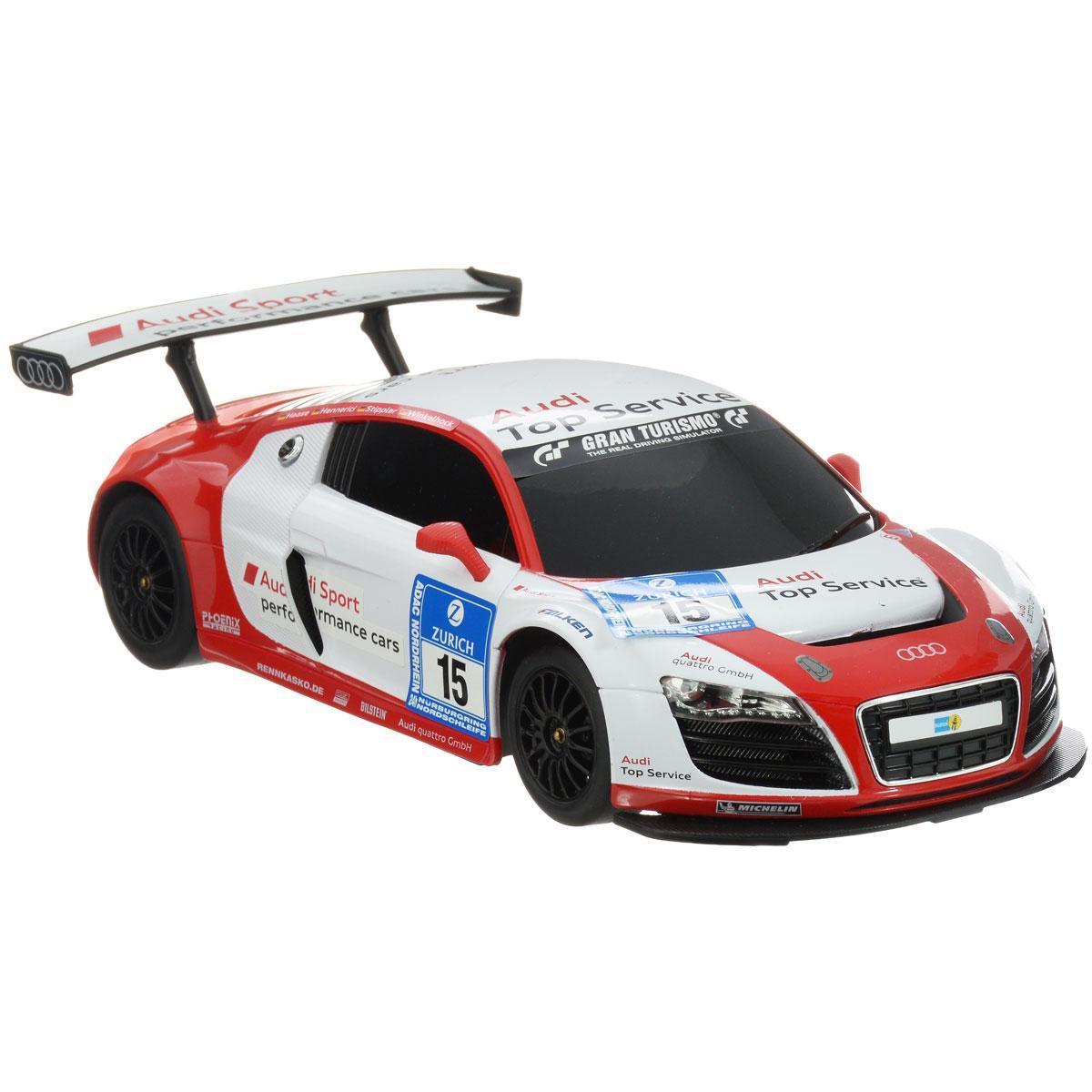 Rastar Радиоуправляемая модель с рулем Audi R8 LMS цвет белый красный масштаб 1:1853610-8Все дети хотят иметь в наборе своих игрушек ослепительные, невероятные и крутые автомобили на радиоуправлении. Тем более если это автомобиль известной марки с проработкой всех деталей, удивляющий приятным качеством и видом. Одной из таких моделей является автомобиль на радиоуправлении Audi R8 LMS. Это точная копия настоящего авто в масштабе 1:18. Авто обладает неповторимым провокационным стилем и спортивным характером. А серьезные габариты придают реалистичность в управлении. Автомобиль отличается потрясающей маневренностью, динамикой и покладистостью. Особенности электромобиля Audi R8 LMS: Машина может осуществлять движение вперед, назад, вправо и влево, при движении назад у нее загораются стоп-сигналы, при движении вперед - горят фары. Радиус действия пульта до 45 метров. Пульт радиоуправления на частоте 27MHz. Максимальная скорость: 12 км/ч. Комплект: машинка, пульт управления. Тип батареек: 3 x AA/LR6 1.5V, 1 x 9V типа Крона( в набор не входят)....