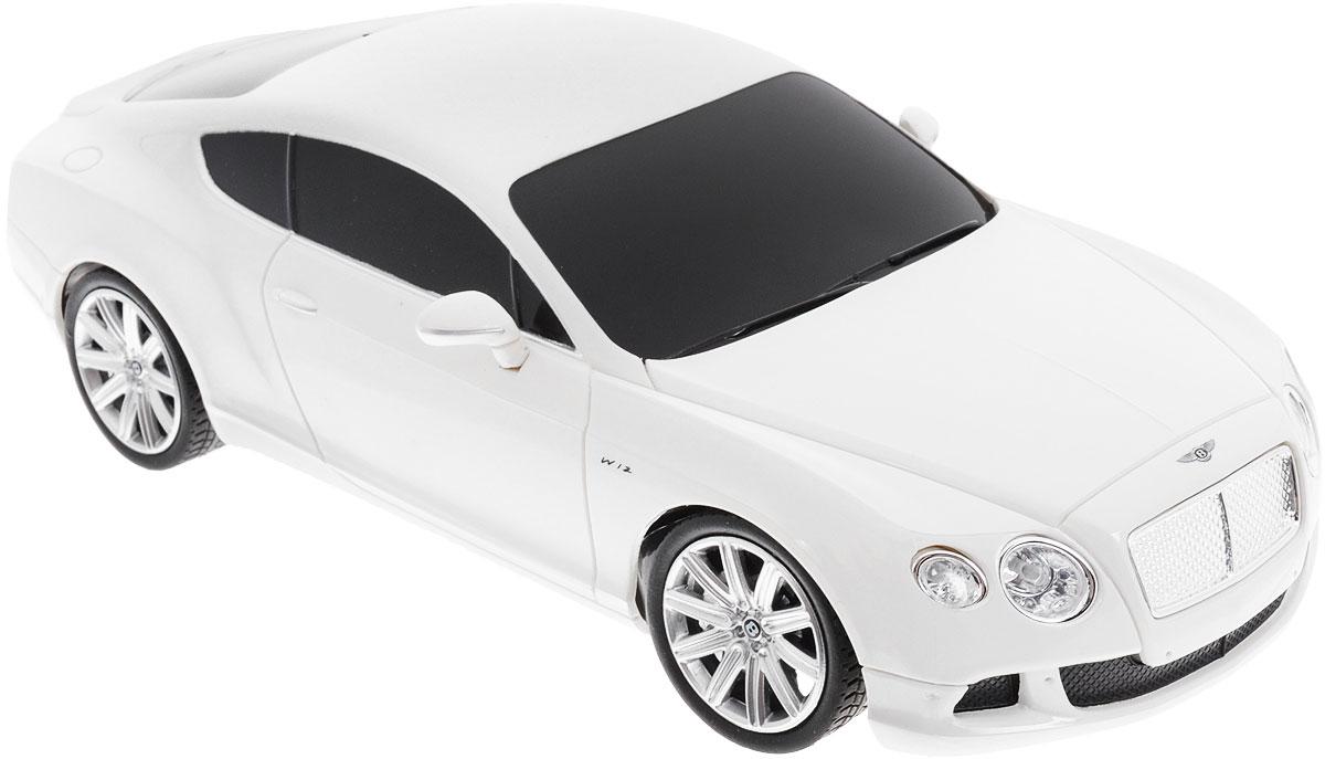 Rastar Радиоуправляемая модель Bentley Continental GT Speed цвет белый масштаб 1:2448600Радиоуправляемая модель Rastar Bentley Continental GT Speed станет отличным подарком любому мальчику! Все дети хотят иметь в наборе своих игрушек ослепительные, невероятные и крутые автомобили на радиоуправлении. Тем более, если это автомобиль известной марки с проработкой всех деталей, удивляющий приятным качеством и видом. Одной из таких моделей является автомобиль на радиоуправлении Rastar Bentley Continental GT Speed. Это точная копия настоящего авто в масштабе 1:24. Авто обладает неповторимым провокационным стилем и спортивным характером. Потрясающая маневренность, динамика и покладистость - отличительные качества этой модели. Возможные движения: вперед, назад, вправо, влево, остановка. Имеются световые эффекты. Пульт управления работает на частоте 40 MHz. Для работы игрушки необходимы 3 батарейки типа АА (не входят в комплект). Для работы пульта управления необходимы 2 батарейки типа АА (не входят в комплект).