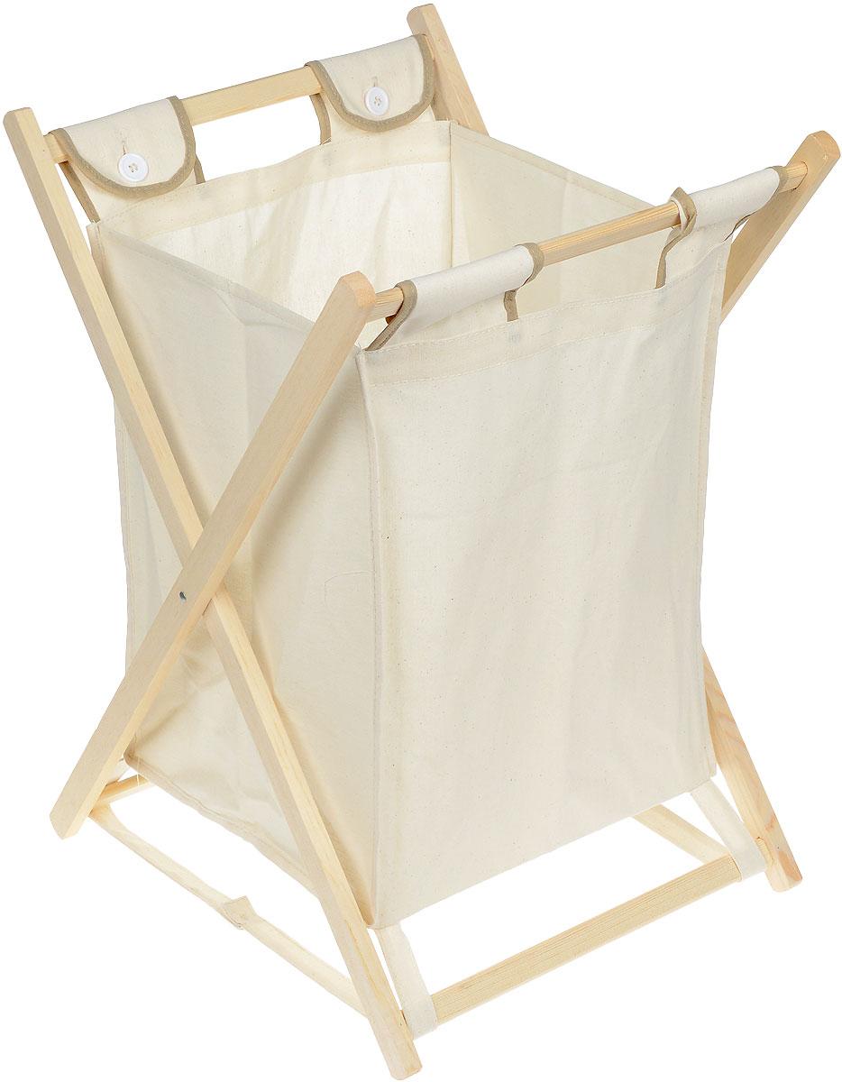 Корзина для белья Easi, 42 х 46 х 62 см10050011-00102Корзина для белья Easi изготовлена из высококачественного текстиля и предназначена для сбора и хранения вещей перед стиркой. Корзина имеет деревянный складывающийся каркас. Компактная и легкая, она не занимает много места, аккуратно хранит белье. Такая корзина станет незаменимым аксессуаром ванной комнаты.