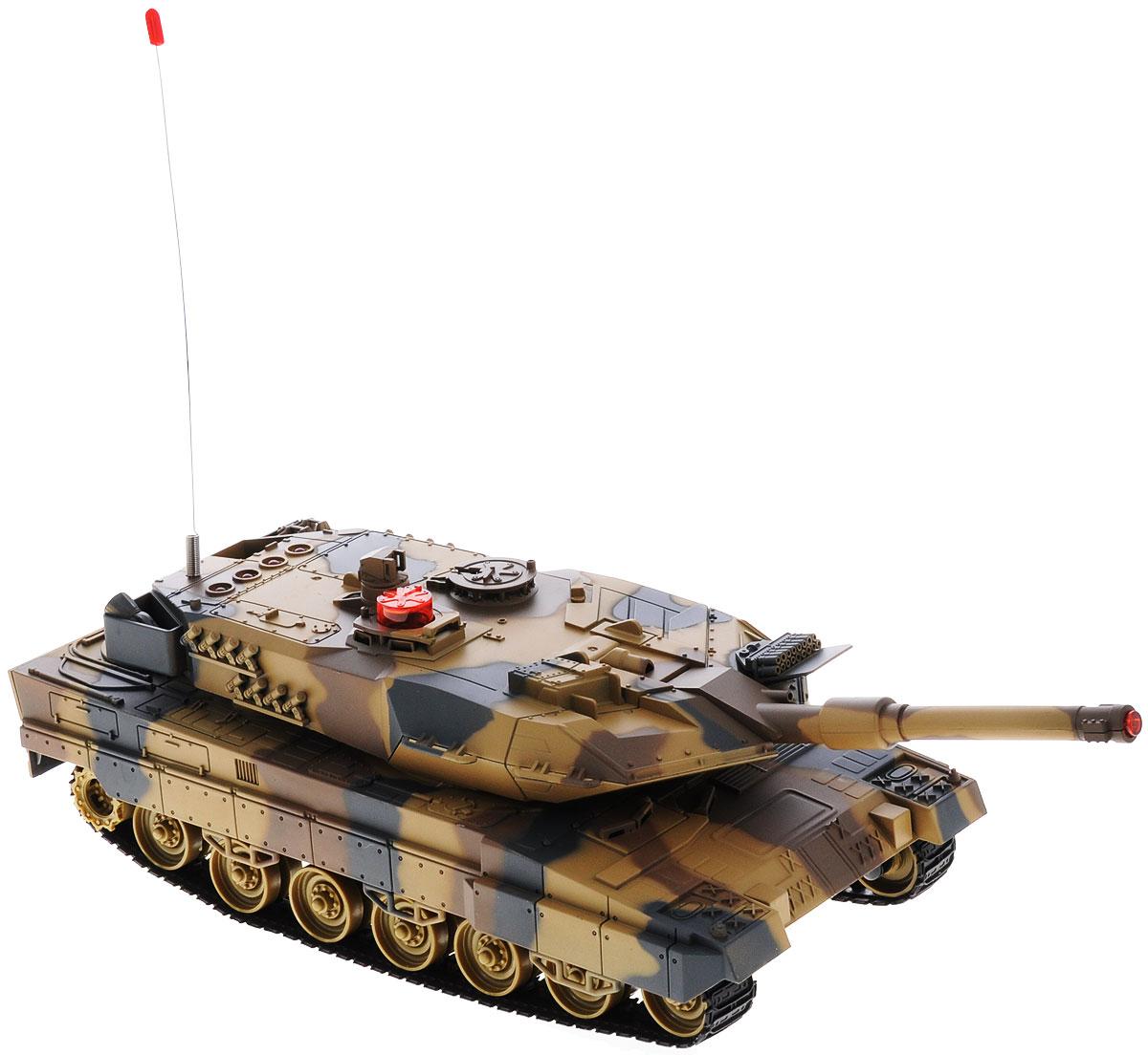 ABtoys Танк на радиоуправлении C-00030C-00030(516-10)Радиоуправляемая модель ABtoys Боевой танк - отличный подарок не только ребенку, но и взрослому, увлекающемуся военной техникой. Танк изготовлен из прочного пластика, оснащен светодиодами, загорающимися во время вращения башни. Игрушка выполнена с вниманием к деталям. Танк передвигается при помощи скрытых колесиков, что позволяет создать иллюзию гусеничного хода. Танк имеет высокую скорость движения. Ствол танка поднимается и опускается, башня поворачивается. При помощи пульта управления танк может двигаться вперед, назад, поворачивать влево и вправо на 360°. Танк оснащен звуковыми эффектами: во время сражения раздаются реалистичные звуки выстрелов, звук движущейся машины и шум поворота пушки. На башне танка имеется световой индикатор жизней - вы можете устроить настоящее танковое сражение, при помощи инфракрасного наведения целясь в башню вражеского танка. Радиус стрельбы составляет 3 м. Радиоуправляемая модель подарит массу удовольствия и детям, и...