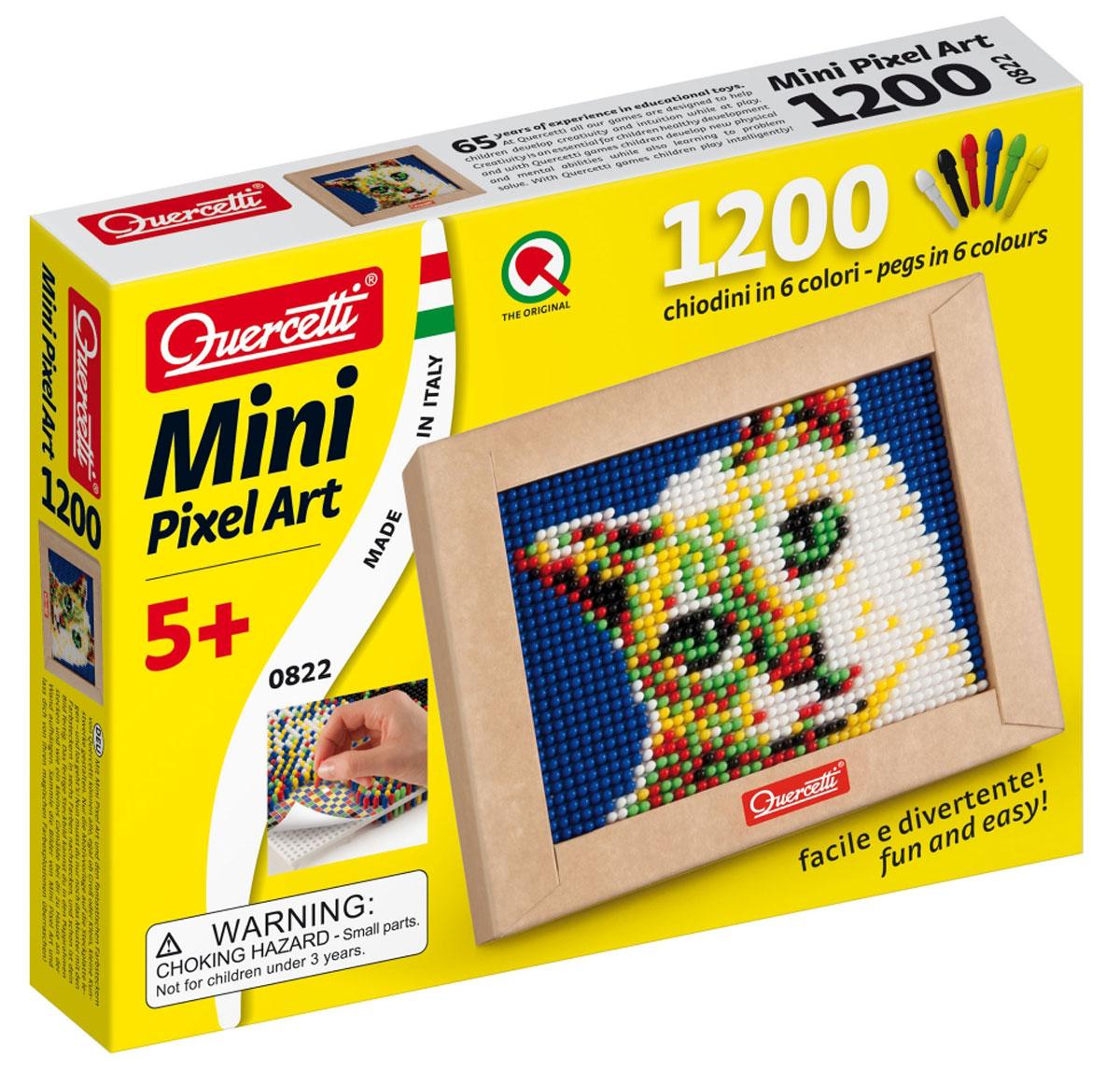 Quercetti Пиксельная мозаика Кошечка822Пиксельная мозаика Quercetti Кошечка непременно понравится вашему ребенку. С пиксельной мозаикой ваши дети могут создавать настоящие картины. Набор включает в себя пластиковое игровое поле, картонную рамку, цветную схему и 1200 элементов мозаики 6 цветов (белого, черного, красного, синего, желтого и зеленого). Просто положите цветную схему на рабочее поле и начинайте втыкать гвоздики соответствующего цвета. После заполнения всего поля мозаику можно вставить в картонную рамочку и повесить на стену, как настоящую картину. Собирание мозаики развивает у детей творческие способности, внимание, усидчивость и мелкую моторику. Порадуйте своего ребенка таким замечательным подарком!