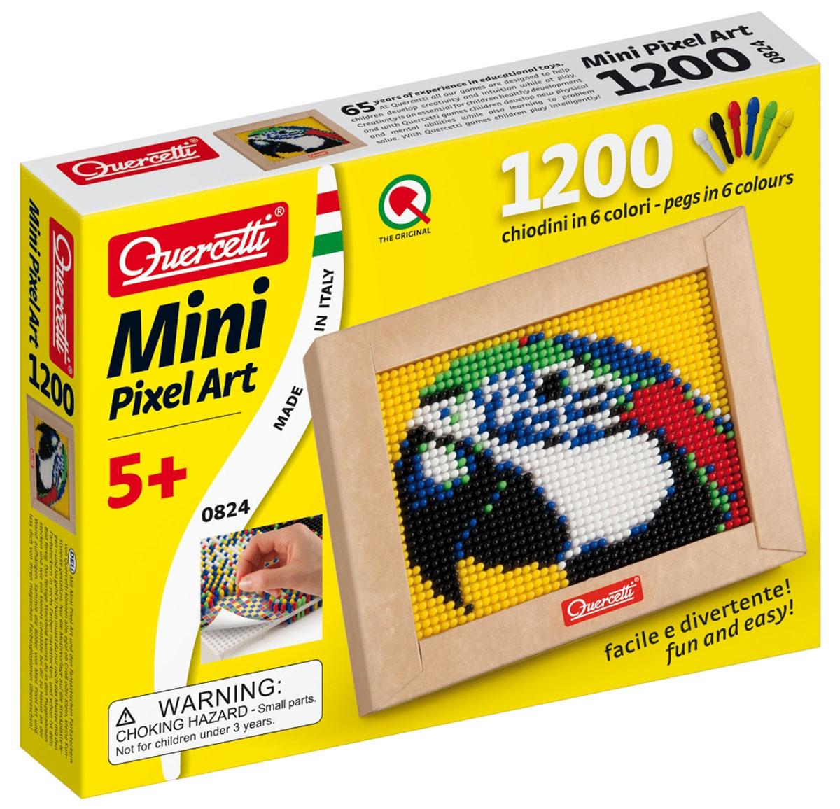 Quercetti Пиксельная мозаика Попугай824Пиксельная мозаика Quercetti Попугай непременно понравится вашему ребенку. С пиксельной мозаикой ваши дети могут создавать настоящие картины. Набор включает в себя пластиковое игровое поле, картонную рамку, цветную схему и 1200 элементов мозаики 6 цветов (белого, черного, красного, синего, желтого и зеленого). Просто положите цветную схему на рабочее поле и начинайте втыкать гвоздики соответствующего цвета. После заполнения всего поля мозаику можно вставить в картонную рамочку и повесить на стену, как настоящую картину. Собирание мозаики развивает у детей творческие способности, внимание, усидчивость и мелкую моторику. Порадуйте своего ребенка таким замечательным подарком!