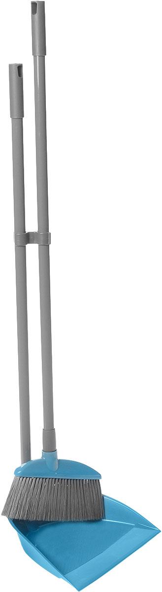 Набор для уборки York, цвет: бирюзовый, серый, 2 предмета. 63026302Набор для уборки York состоит из совка и щетки-сметки. Щетка имеет эластичный ворс, который позволяет легко сметать мусор, а благодаря специальному изгибу, мусор легко выметается даже из труднодоступных мест. Совок выполнен из пластика, заостренный край помогает легко захватывать весь мусор. Длинная рукоятка совка обеспечивает комфортную уборку и позволяет меньше нагибаться. Рукоятки изделий выполнены из металла и оснащены отверстиями для подвеса на крючок. В комплекте специальное крепление для компактного хранения. Общая длина щетки: 84 см. Ширина рабочей поверхности щетки: 20 см. Длина ворса: 7 см. Общая длина совка: 77 см. Размер рабочей поверхности совка: 24 см х 20,5 см х 5,5 см.
