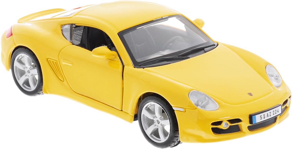 Bburago Модель автомобиля Porsсhe Cayman S цвет желтый18-43003_желтыйЯркая и красочная модель автомобиля Bburago Porsche Cayman S привлечет внимание не только ребенка, но и взрослого. Машинка является точной уменьшенной копией настоящего автомобиля в масштабе 1/32. Модель выполнена из металла с элементами из пластика. Дверцы машинки открываются, а прорезиненные колесики вращаются, благодаря чему машинка ездит по любой гладкой поверхности. Машинка высоко детализирована и не только станет отличной игрушкой для вашего маленького гонщика, но и займет достойное место в любой коллекции.