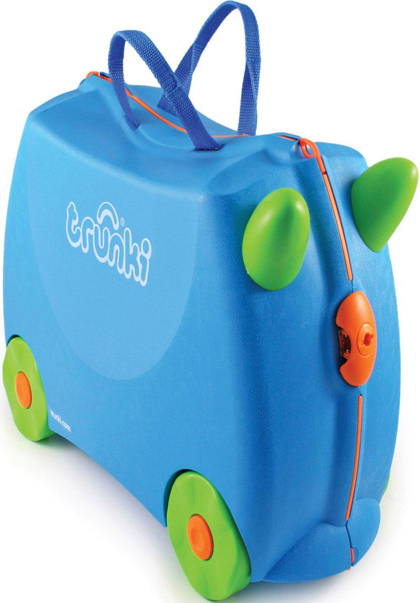 Trunki Чемодан-каталка цвет голубой салатовый0054-GB01-P1Детский чемодан-каталка Trunki - оригинальный чемодан на колесах, созданный, чтобы избавить маленьких путешественников от скуки и усталости. Корпус чемодана выполнен в форме седла, чтобы маленькому наезднику было комфортно сидеть. Малыш может держаться за специальные рожки на передней части чемодана. Форма рожек специально разработана для детских ручек. Чемодан имеет 4 колеса и стабилизаторы, которые не позволят чемодану опрокинуться. Для переноски у чемодана предусмотрены 2 текстильные ручки, а также ремень через плечо, который можно использовать для буксировки чемодана. Чемодан содержит вместительное отделение с фиксирующейся Х-образной резинкой. Также в чемодане имеется длинный кармашек для мелочей. Закрывается чемодан на две защелки. Крышка чемодана плотно прилегает к основанию, уплотнитель между ними не позволит мелким предметам выпасть из него. Многофункциональный детский чемодан, с которым можно и поиграть, и отправиться в путешествие....