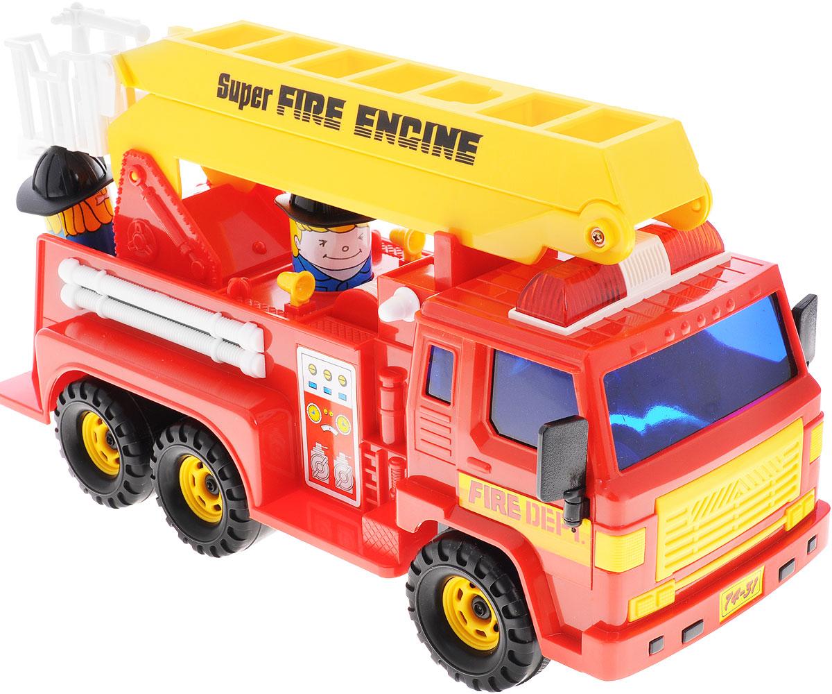 Daesung Пожарная машина 404404Пожарная машина Daesung, выполненная из безопасного пластика, станет любимой игрушкой вашего малыша. Лестница машины поднимается, а в корзину можно поместить входящую в комплект фигурку пожарного. Игрушка оснащена инерционным ходом. Машинку необходимо отвести назад, затем отпустить - и она быстро поедет вперед. Рельефные колеса обеспечивают надежное сцепление с любой поверхностью пола. Игры с этой яркой машинкой развивают концентрацию внимания, координацию движений, мелкую и крупную моторику, цветовое восприятие и воображение. Ваш ребенок будет часами играть с этой машинкой, придумывая различные истории.