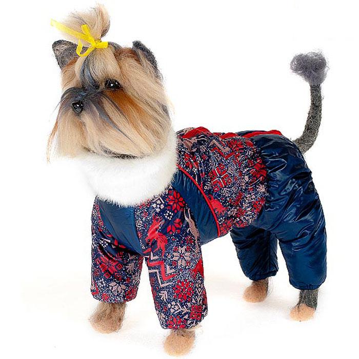 Комбинезон для собак Happy Puppy Скандинавия, зимний, для мальчика, цвет: темно-синий, красный. Размер 1 (S)HP-150019-1Зимний комбинезон для собак Happy Puppy Скандинавия отлично подойдет для прогулок в зимнее время года. Комбинезон изготовлен из полиэстера, защищающего от ветра и снега, а на подкладке используется искусственный мех, который обеспечивает отличный воздухообмен. Комбинезон застегивается на молнию, благодаря чему его легко надевать и снимать. Высокий ворот изделия выполнен из искусственного меха. Низ рукавов и брючин оснащен внутренними резинками, которые мягко обхватывают лапки, не позволяя просачиваться холодному воздуху. На пояснице комбинезон затягивается на шнурок-кулиску. Благодаря такому комбинезону простуда не грозит вашему питомцу и он сможет испытать не сравнимое удовольствие от снежных игр и забав.