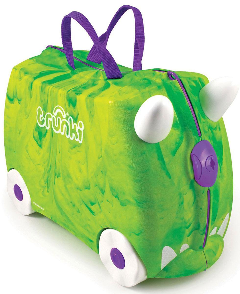 Trunki Чемодан-каталка Динозавр0066-GB01-P1Детский чемодан-каталка Trunki Динозавр - оригинальный чемодан на колесах, созданный, чтобы избавить маленьких путешественников от скуки и усталости. Корпус чемодана выполнен в форме седла, чтобы маленькому наезднику было комфортно сидеть. Малыш может держаться за специальные рожки на передней части чемодана. Форма рожек специально разработана для детских ручек. Чемодан имеет 4 колеса и стабилизаторы, которые не позволят чемодану опрокинуться. Для переноски у чемодана предусмотрены 2 текстильные ручки, а также ремень через плечо, который можно использовать для буксировки чемодана. Чемодан содержит вместительное отделение с фиксирующейся Х- образной резинкой. Также в чемодане имеется длинный кармашек для мелочей. Закрывается чемодан на две защелки. Крышка чемодана плотно прилегает к основанию, уплотнитель между ними не позволит мелким предметам выпасть из него. Чемодан-каталка Trunki Динозавр поможет ребенку не заскучать во время длительных перелетов...