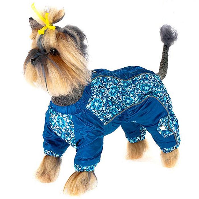 Комбинезон для собак Happy Puppy Арабески, для мальчика, цвет: синий. Размер 1 (S)HP-150014-1Комбинезон для собак Happy Puppy Арабески отлично подойдет для прогулок в прохладную погоду. Комбинезон изготовлен из полиэстера, защищающего от ветра и осадков, а в качестве подкладки используется мягкий искусственный мех, обеспечивающий отличный воздухообмен. Комбинезон застегивается на молнию и липучку, благодаря чему его легко надевать и снимать. Ворот, низ рукавов и брючин оснащены внутренними резинками, которые мягко обхватывают шею и лапки, не позволяя просачиваться холодному воздуху. На пояснице и между рукавами имеются скрытые резинки, которые также не позволяют проникнуть холодному воздуху. Благодаря такому комбинезону простуда не грозит вашему питомцу и он не даст любимцу продрогнуть на прогулке.