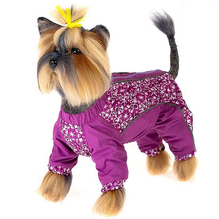Комбинезон для собак Happy Puppy Арабески, для девочки, цвет: фиолетовый. Размер 3 (L)HP-150013-3Комбинезон для собак Happy Puppy Арабески отлично подойдет для прогулок в прохладную погоду. Комбинезон изготовлен из полиэстера, защищающего от ветра и осадков, с подкладкой из флиса, которая сохранит тепло и обеспечит отличный воздухообмен. Комбинезон застегивается на молнию и липучку, благодаря чему его легко надевать и снимать. Ворот, низ рукавов и брючин оснащены внутренними резинками, которые мягко обхватывают шею и лапки, не позволяя просачиваться холодному воздуху. На пояснице и между рукавами имеются скрытые резинки, которые также не позволяют проникнуть холодному воздуху. Благодаря такому комбинезону простуда не грозит вашему питомцу и он не даст любимцу продрогнуть на прогулке.
