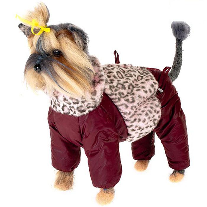 Комбинезон для собак Happy Puppy Саванна, зимний, для девочки, цвет: бордовый. Размер 1 (S)HP-150022-1Зимний комбинезон для собак Happy Puppy Саванна отлично подойдет для прогулок в зимнее время года. Комбинезон изготовлен из полиэстера, защищающего от ветра и снега, а на подкладке используется искусственный мех, который обеспечивает отличный воздухообмен. Комбинезон застегивается на молнию, благодаря чему его легко надевать и снимать. Высокий ворот изделия выполнен из искусственного меха. Низ рукавов и брючин оснащен внутренними резинками, которые мягко обхватывают лапки, не позволяя просачиваться холодному воздуху. На пояснице комбинезон затягивается на шнурок-кулиску. Изделие декорировано вставкой из искусственного меха, оформленного под окрас барса. Благодаря такому комбинезону простуда не грозит вашему питомцу и он сможет испытать не сравнимое удовольствие от снежных игр и забав.