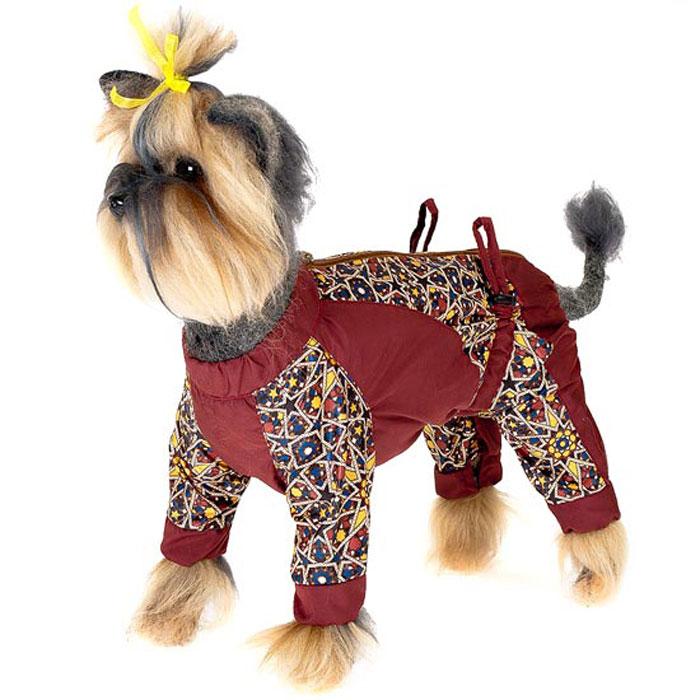 Комбинезон для собак Happy Puppy Звездочка, для мальчика, цвет: коричнево-красный. Размер 4 (XL)HP-150017-4Легкий комбинезон для собак Happy Puppy Звездочка отлично подойдет для прогулок в ветреную погоду. Комбинезон изготовлен из полиэстера, защищающего от ветра и осадков. Комбинезон застегивается на молнию и липучку, благодаря чему его легко надевать и снимать. Ворот, низ рукавов и брючин оснащены внутренними резинками, которые мягко обхватывают лапки, не позволяя просачиваться холодному воздуху. На пояснице комбинезон затягивается на шнурок-кулиску. Благодаря такому комбинезону простуда не грозит вашему питомцу.