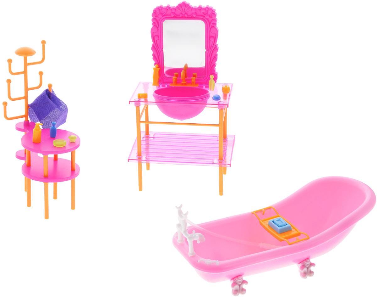 1TOY Набор мебели для кукол Красотка ВаннаяТ54508С помощью набора мебели Красотка. Ванная ваша малышка сможет собрать современную ванную комнату для своих куколок, которая порадует своим удобством и многофункциональностью. Набор включает в себя элементы для сборки ванны, раковины с зеркалом, тумбочки и множество аксессуаров и наклейки. Ванная комната для куколки получится в гламурном розовом цвете. Легко собирается и подходит для любых кукол ростом от 12 до 29 см. Помещается в большой кукольный домик. Ваша малышка будет часами играть с набором, придумывая различные истории. Порадуйте ее таким замечательным подарком!