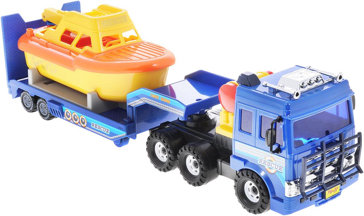 Daesung Машинка с катером береговой охраны938Машинка с катером береговой охраны Daesung, выполненная из безопасного пластика, станет любимой игрушкой вашего малыша. Машинка оснащена съемным прицепом с подставкой, на которую без труда помещается входящий в набор катер. Катер дополнен функциональной лебедкой с крючком. Игрушка оснащена инерционным ходом. Толкните машинку вперед - и она будет продолжать ехать самостоятельно. Рельефные прорезиненные колеса обеспечивают надежное сцепление с любой поверхностью пола. Игры с этой яркой машинкой развивают концентрацию внимания, координацию движений, мелкую и крупную моторику, цветовое восприятие и воображение. Ваш ребенок будет часами играть с этой машинкой, придумывая различные истории.