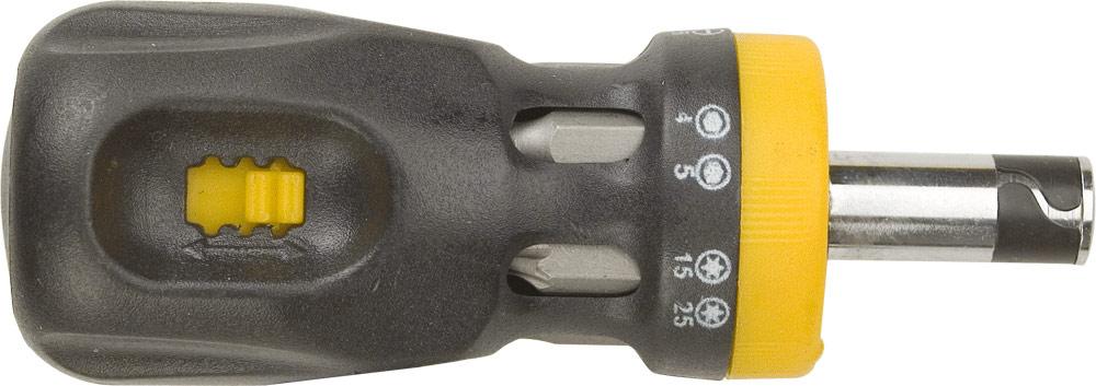 Отвертка Topex с трещоткой, 12 насадок39D517Отвертка Торех с трещоткой предназначена для монтажа/демонтажа резьбовых соединений. В комплект входят 12 двусторонних бит, котрые хранятся в корпусе отвертки. Для каждого бита имеется ячейка с размером.