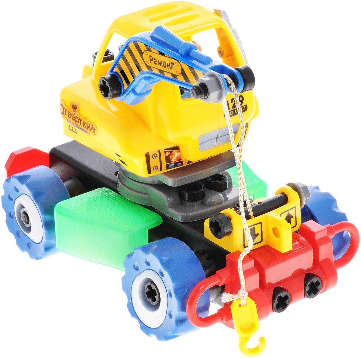 Zhorya Машинка-конструктор на радиоуправлении ОтверткинХ75430Машинка-конструктор на радиоуправлении Zhorya Отверткин - это детская пластиковая машина-конструктор, которую ребенок самостоятельно сможет собрать, ведь все детали крупные и абсолютно безопасны для детей. В результате сборки получится не просто интересная игрушка, а настоящий автокран на радиоуправлении со световыми и звуковыми эффектами. В комплекте с машиной идет пульт управления, отвертка и фигурка человечка. Для работы игрушки необходимы 4 батарейки типа АА (не входят в комплект). Для работы пульта управления необходимы 2 батарейки типа АА (не входят в комплект).