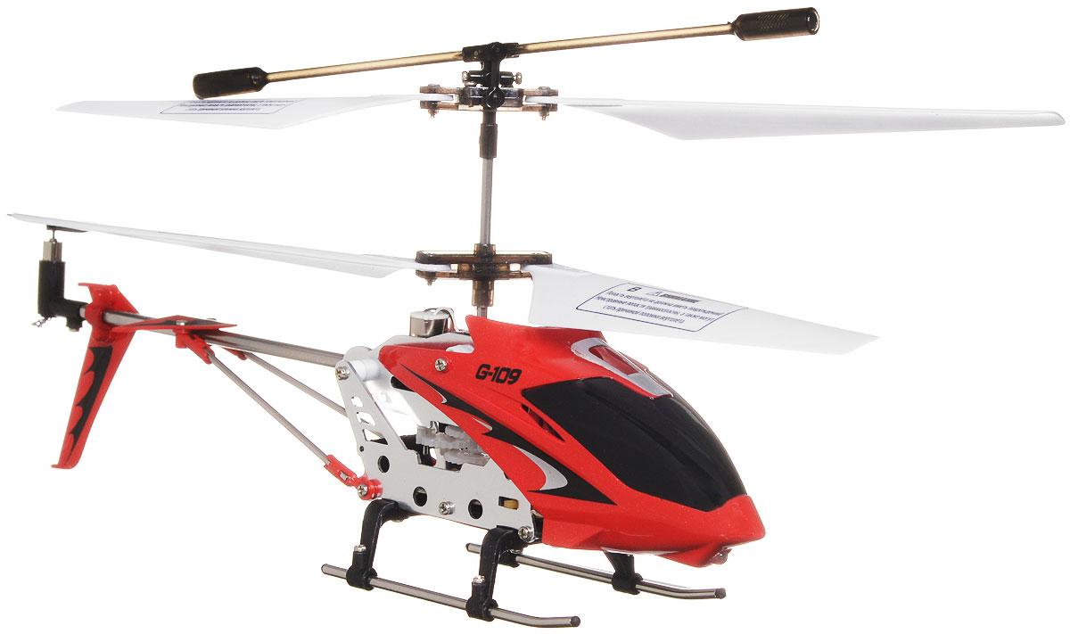 1TOY Вертолет на радиоуправлении Gyro-109Т52819_красныйВертолет на радиоуправлении Gyro-109 со световыми эффектами оснащен встроенным гироскопом, который поможет скорректировать и устранить нежелательные вращения корпуса вертолета, благодаря чему сохранится высокая устойчивость полета, и пропорциональным триммером для выравнивания полета. Каркас вертолета выполнен из пластика с использованием металла. Вертолет имеет трехканальное дистанционное управление: он летает во всех направлениях, а также восьмеркой и по кругу. Модель вертолета идеально подходит для игры внутри помещения. Зарядка аккумулятора осуществляется от USB-провода (входит в комплект) или пульта управления. Каждый полет вертолета будет максимально комфортным и принесет вам яркие впечатления! Вертолет работает от встроенного литий-полимерного аккумулятора c напряжением 3,7V (130 mAh). Пульт управления работает от 6 батареек напряжением 1,5V типа AA (не входят в комплект).