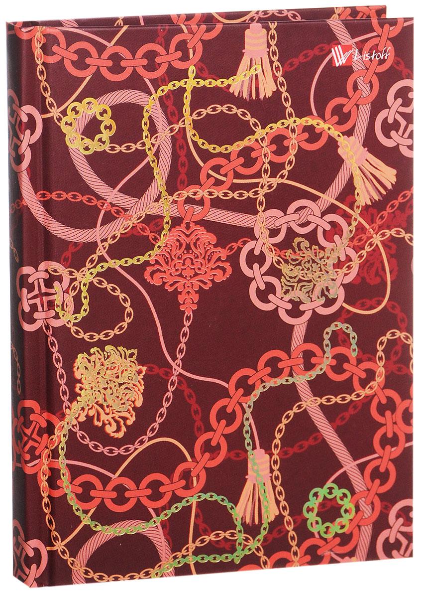 Listoff Записная книжка Фантазия 80 листов в клеткуКЗФГ6801326Записная книжка Listoff Фантазия - незаменимый атрибут современного человека, необходимый для рабочих и повседневных записей в офисе и дома. Записная книжка содержит 80 листов формата А6 в клетку. Обложка, выполненная из картона с золотистым тиснением фольгой, украшена причудливым орнаментом. Внутренний блок изготовлен из высококачественной плотной бумаги, что гарантирует чистоту записей и отсутствие клякс. Записная книжка снабжена закладкой-ляссе. На первой странице помещаются личные данные владельца. Книга для записей Listoff Фантазия станет достойным аксессуаром среди ваших канцелярских принадлежностей. Она подойдет как для деловых людей, так и для любителей записывать свои мысли, рисовать скетчи, делать наброски.