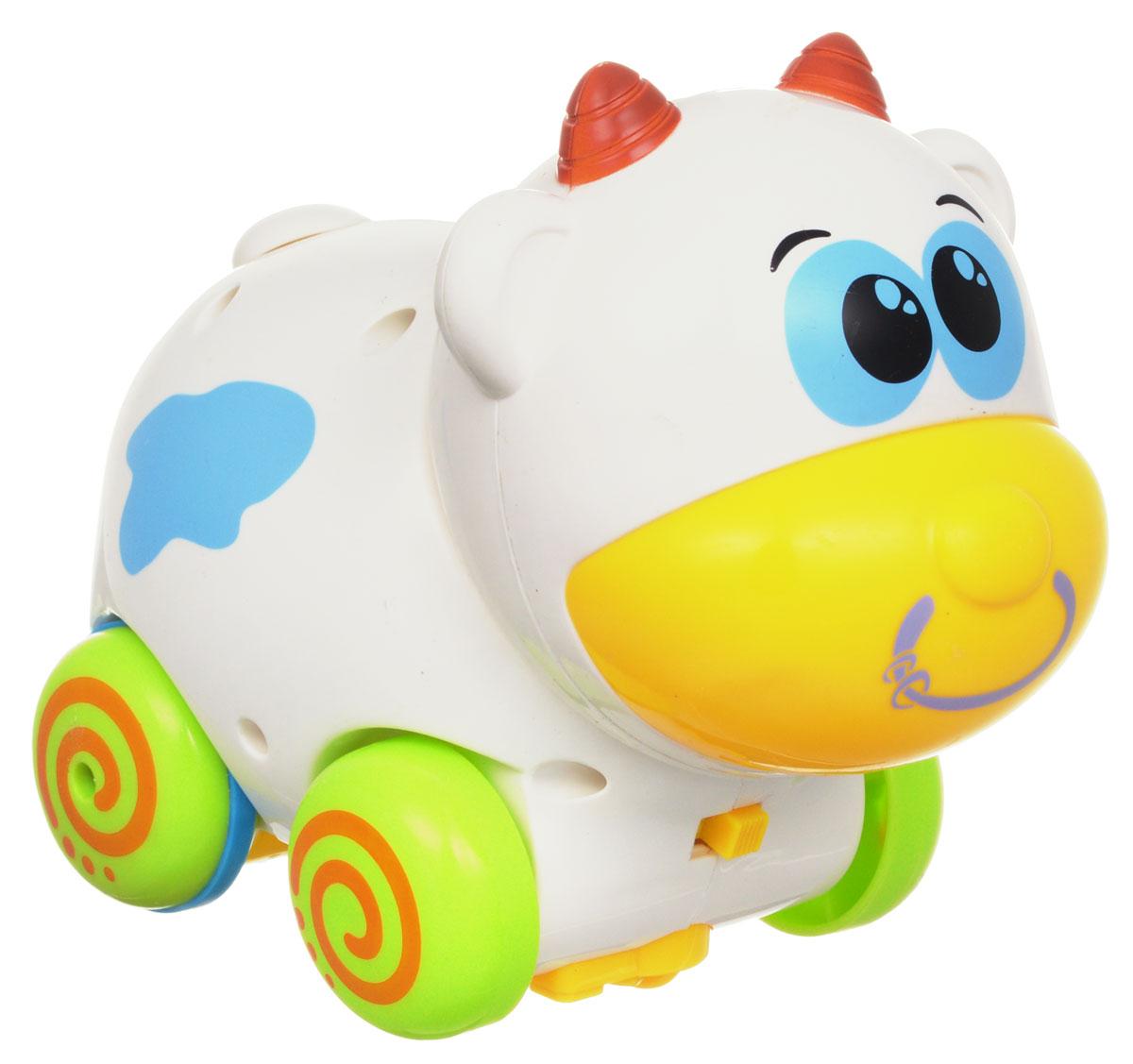 Mioshi Игрушка на радиоуправлении Зверята БычокMAC1210-001Игрушка на радиоуправлении Mioshi Бычок из серии Зверята непременно понравится вашему малышу. Выполненная из прочного безопасного пластика, игрушка надолго займет внимание малыша. При помощи простейшего дистанционного пульта управления, выполненного в форме бабочки, бычок может двигаться вперёд и назад, качать головой и вилять хвостиком. Игра с ним подарит много радости благодаря забавным звуковым эффектам. Радиоуправляемые игрушки развивают моторику ребенка, его логику, координацию движений и пространственное мышление. Порадуйте своего малыша таким замечательным подарком! Для работы игрушки необходимо докупить 3 батарейки типа ААА (не входят в комплект). Для работы пульта управления необходимо докупить 2 батарейки типа АА (не входят в комплект).