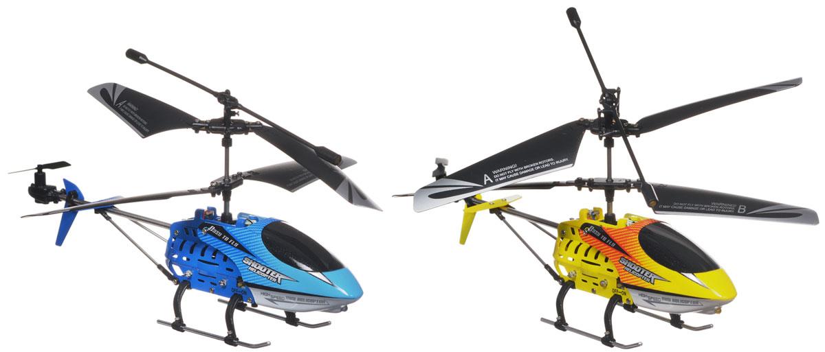 Mioshi Вертолеты на инфракрасном управлении Sky KnightsMTE1202-117Игровой набор вертолетов на инфракрасном управлении Mioshi Sky Knights непременно понравится вашему ребенку, и он будет с радостью устраивать настоящие воздушные бои с друзьями! Вертолёты, изготовленные из высококачественного пластика и металла, оснащены инфракрасными пушками и датчиками поражения цели. Подсветка корпуса, звуковые эффекты при стрельбе делают игру реалистичной и захватывающей. Встроенный гироскоп обеспечивает стабильность полета и легкость управления вертолётом. При нажатии кнопки Огонь на пульте управления вы услышите звуковой сигнал, и вертолет выстрелит в вертолет противника. Первое попадание заставит вертолет противника вращаться дважды влево вокруг своей оси, второе попадание заставит его вращаться вправо. После третьего попадания вертолет противника потеряет управление - вы победили! Кнопка Ускорение предназначена для увеличения скорости полета и уклонения от ударов соперника. Игрушки на инфракрасном управлении развивают моторику ребенка, его...