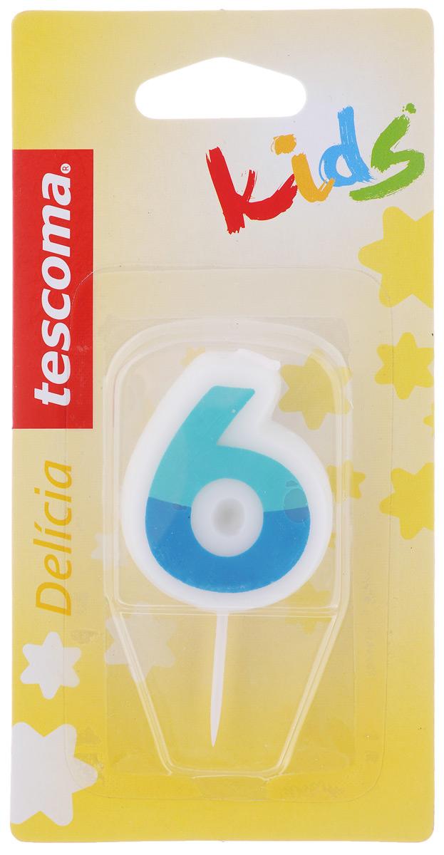 Свеча для торта Tescoma Delicia Kids, шестерка, цвет: белый, синий630976_белый, синийСвеча для торта Tescoma Delicia Kids изготовлена из высококачественного парафина, фитиль - натуральное волокно. Это отличное решение для декорирования торта к празднику. Ее можно комбинировать с другими цифрами. Изделие хорошо и долго горит. С этой свечой ваш праздник станет еще удивительнее и веселее. Высота свечи (без учета иглы): 4,5 см.