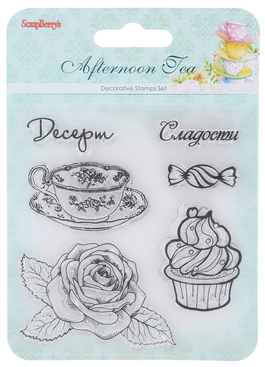 Набор декоративных штампов ScrapBerrys Сладости. Десерт, 6 шт7714724Набор декоративных штампов ScrapBerrys Сладости. Десерт состоит из 6 силиконовых элементов, выполненных в виде фигурок чашки, цветка, сладостей и надписей. Штампы используются для нанесения красивого и ровного рисунка на творческую работу при помощи чернил. Для этого необходимо снять штамп, закрасить его чернилами и прижать в требуемом месте. Изделия предназначены для творческих работ в стиле скрапбукинг, декорирования, оформления альбомов, книг, коробок, фоторамок и других предметов. Разнообразьте свои вещи и украсьте их великолепными оттисками. Количество штампов: 6 шт. Средний размер штампов: 5 см х 3 см.