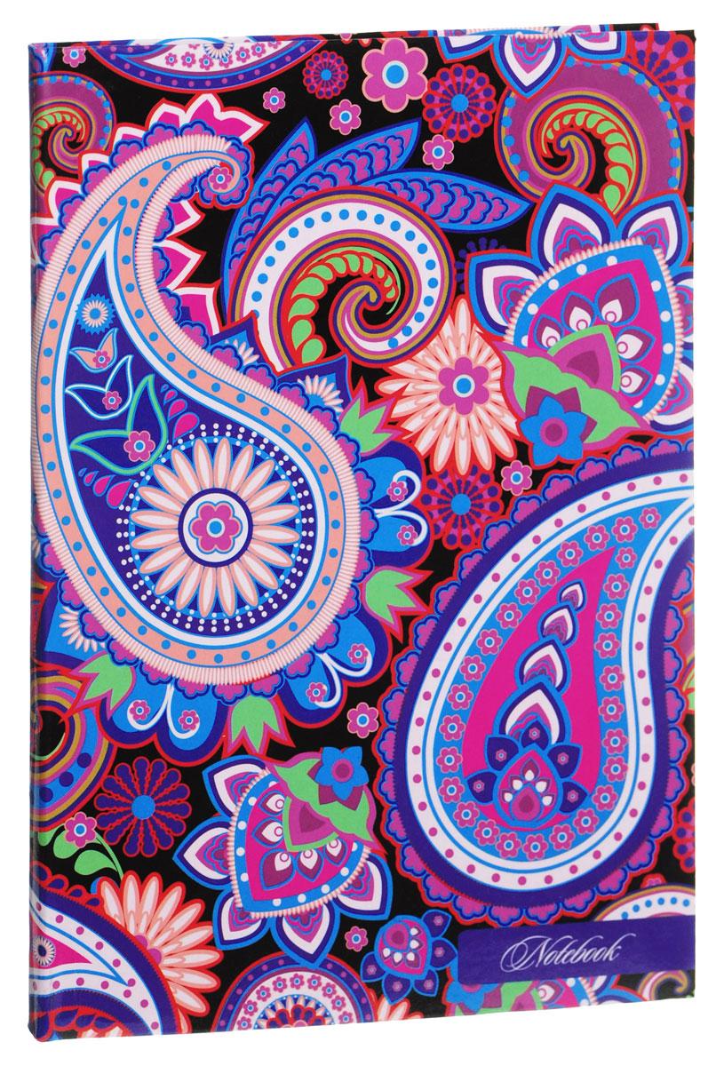 Listoff Записная книжка Узор пейсли 80 листов в клетку цвет фиолетовый