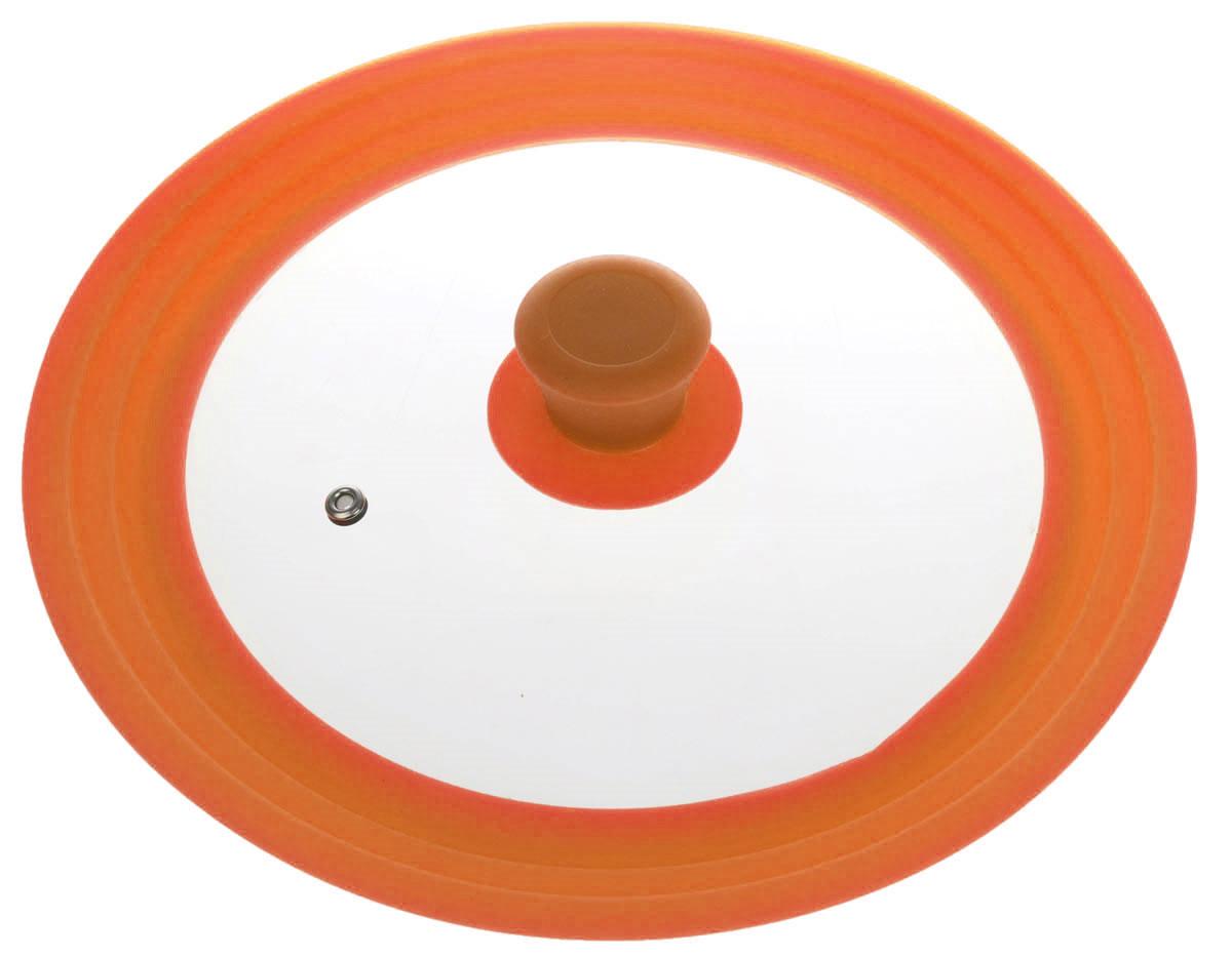 Крышка универсальная Miolla, цвет: оранжевый, для сковород и кастрюль диаметром 24, 26, 28 см1015032UКрышка Miolla подходит в качестве универсальной крышки к сковородам и кастрюлям диаметром 24, 26 и 28 см. Изготовлена из термостойкого стекла толщиной 4 мм. Ручка и ободок выполнены из жаропрочного пищевого силикона, который выдерживает температуру до +200°C. Имеется отверстие для выхода пара. Можно использовать в духовке (до 180°C). Можно мыть в посудомоечной машине.