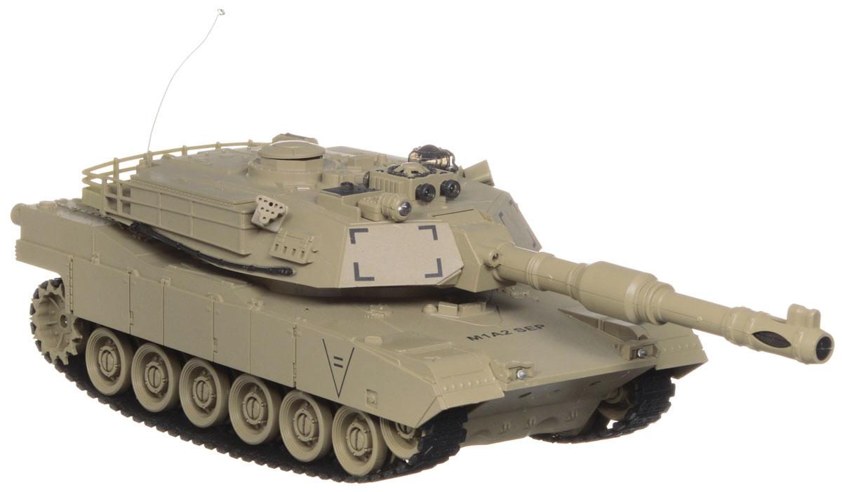 Balbi Танк на радиоуправлении М1А2 цвет песочныйFMTB-2801-EРадиоуправляемый танк Balbi М1А2 понравится не только малышам, но и взрослым любителям военной техники. Игрушка, выполненная из безопасного прочного пластика с элементами из металла, досконально воспроизводит легендарную модель американского танка М1А2 в масштабе 1/28. Танк может двигаться вправо, влево, вперед и назад, а также вращаться на месте и преодолевать подъемы под углом 45 градусов. Башня танка может вращаться направо и налево на 280 градусов, а регулируемая пушка опускается и поднимается. На башне танка имеется световой индикатор жизней - вы можете устроить настоящее танковое сражение, при помощи инфракрасного наведения целясь в башню вражеского танка. После попадания на боевой машине гаснет один индикатор жизни. Бой заканчивается, когда на одном из танков гаснут все индикаторы жизни. Танк оснащен звуковыми эффектами: во время сражения раздаются реалистичные звуки выстрелов, звук движущейся машины и шум поворота пушки. Реалистичные световые и звуковые...
