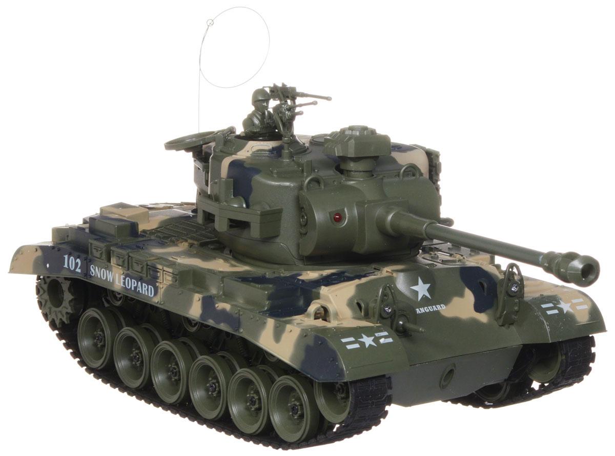 Balbi Танк на радиоуправлении Snow LeopardFMT-1601-HРадиоуправляемый танк Balbi Snow Leopard понравится не только малышам, но и взрослым любителям военной техники. Игрушка, выполненная из безопасного прочного пластика с элементами из металла, досконально воспроизводит легендарную модель танка Snow Leopard в масштабе 1/16. В комплект входят также 2 навесных пулемета и фигурка командира. Танк может двигаться вправо, влево, вперед и назад, а также вращаться на месте и преодолевать подъемы под углом 45 градусов. Башня танка может вращаться направо и налево на 280 градусов, а регулируемая пушка опускается и поднимается. Пневматическая пушка с улучшенной баллистической системой стреляет пластиковыми пульками, которые также входят в комплект. При каждом выстреле пушка имитирует отдачу. Предусмотрена возможность управления движением танка и башней одновременно. Реалистичные световые и звуковые эффекты при стрельбе позволяют еще глубже окунуться в атмосферу настоящего танкового боя. Радиоуправляемые игрушки развивают...