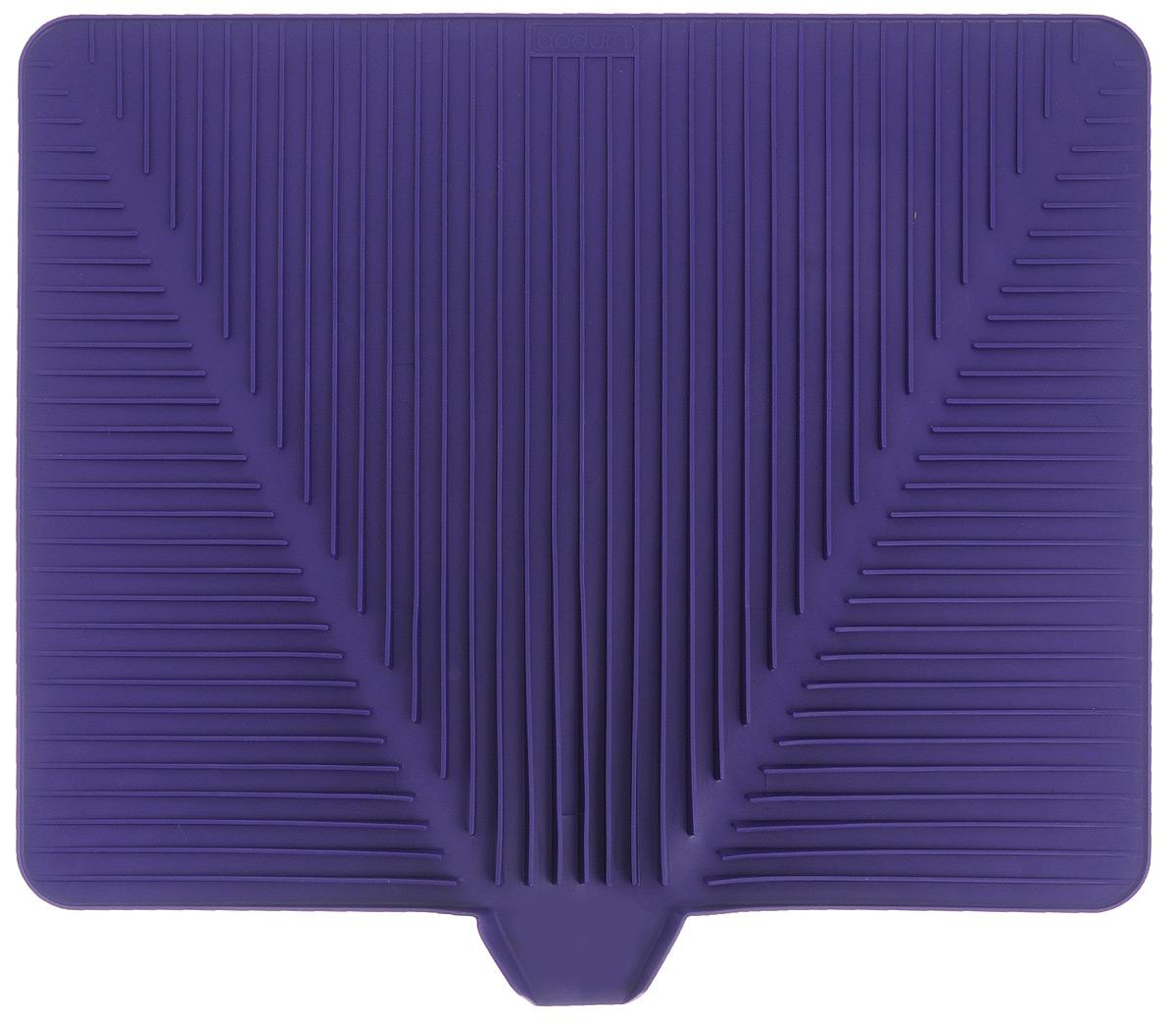 Сушилка для посуды Bodum Bistro, цвет: фиолетовый, 38 х 30 смA11548-914-Y15Эластичная сушилка для посуды Bodum Bistro, выполненная из гибкого силикона, защитит кухонную столешницу от влаги. Благодаря ребристой поверхности, которая расположена под наклоном, вода стекает в одну сторону. Направьте боковой носик в раковину и вода будет стекать туда. Если рядом раковины нет, то используйте обратную сторону сушилки, которая будет просто собирать воду внутри. Ваша посуда высохнет быстрее, если после мойки вы поместите ее на легкую, современную сушилку. Сушилка для посуды Bodum Bistro станет незаменимым атрибутом на вашей кухне.