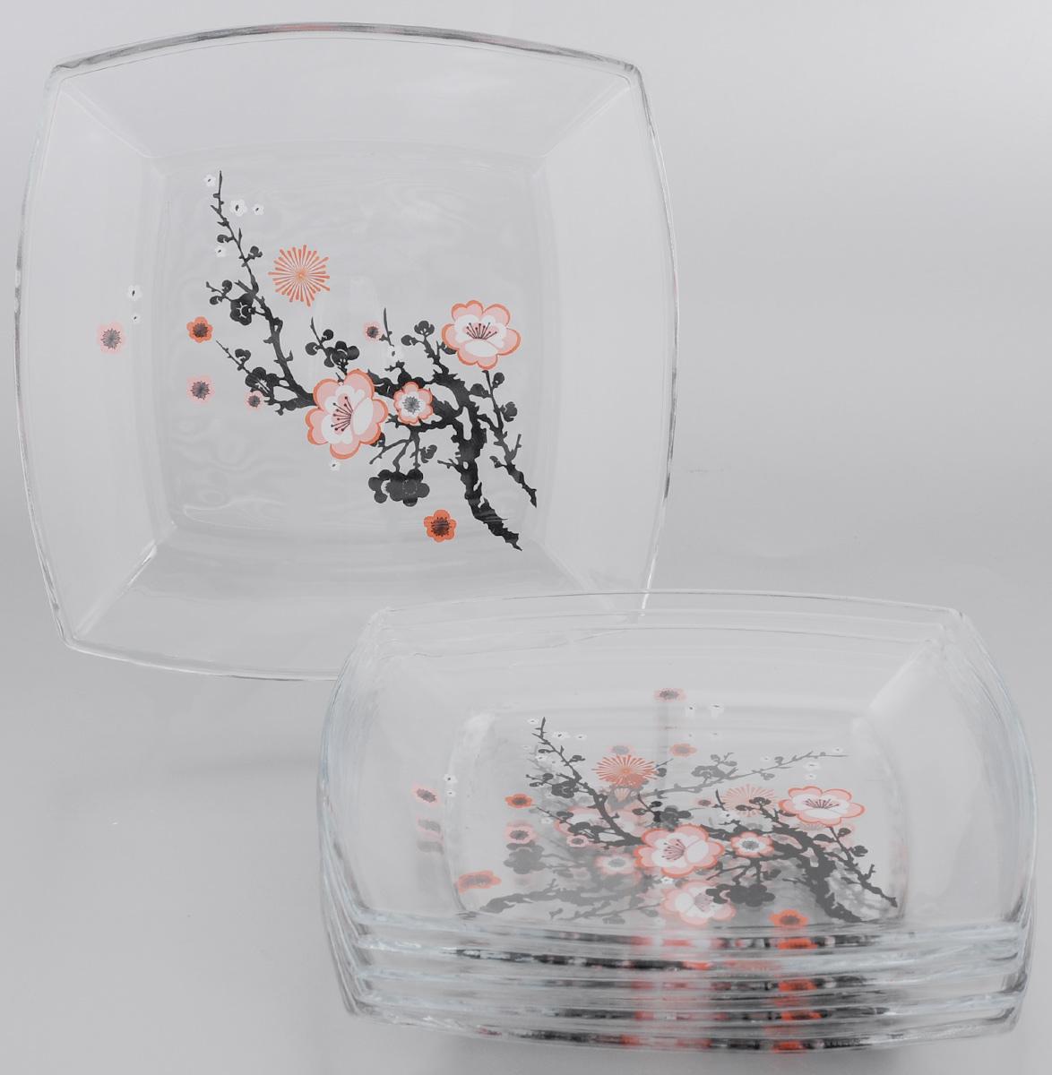 Набор тарелок Pasabahce Workshop Сакура, 6 шт54077BDНабор Сакура, выполненный из высококачественного стекла, состоит из шести тарелок квадратной формы, предназначенных для красивой сервировки различных блюд. Изделия декорированы изящным узором в виде ветки сакуры и, несомненно, понравятся любителям изысканного стиля. Набор тарелок Сакура великолепно украсит ваш стол и послужит отличным подарком к любому празднику. Тарелку нельзя использовать в микроволновой печи. Можно использовать в посудомоечной машине без использования абразивных средств. Можно хранить в холодильнике.