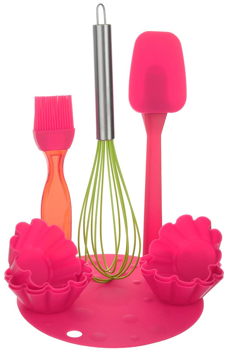 Набор для выпечки Marmiton, цвет: красный, салатовый, 10 предметов11164_красный, салатовыйЕсли вы любите побаловать своих домашних вкусной и ароматной выпечкой по вашему оригинальному рецепту, то набор для выпечки Marmiton как раз то, что вам нужно! Он прекрасно подходит для приготовления выпечки, шоколада, желирования, замораживания, а также для приготовления птицы, мяса, рыбы, фаршированных овощей и фруктовых десертов. Набор состоит из шести формочек, лопатки, кисти, коврика и венчика. Предметы набора выполнены из силикона. Силикон устойчив к перепадам температуры от -40°C до +230°C, практичен при хранении за счет гибкости. Рукоятка венчика изготовлена из нержавеющей стали. Кисточка предназначена для смазывания выпечки яйцом, кремом, глазурью, а также для смазывания сковороды маслом при приготовлении блинов и оладий. Лопатка предназначена для вынимания готовой выпечки с противня. Венчик легко взбивает тесто и другие продукты. Коврик можно использовать под выпечку, чтобы та не пригорела. Силиконовые формы обладают естественными антипригарными...