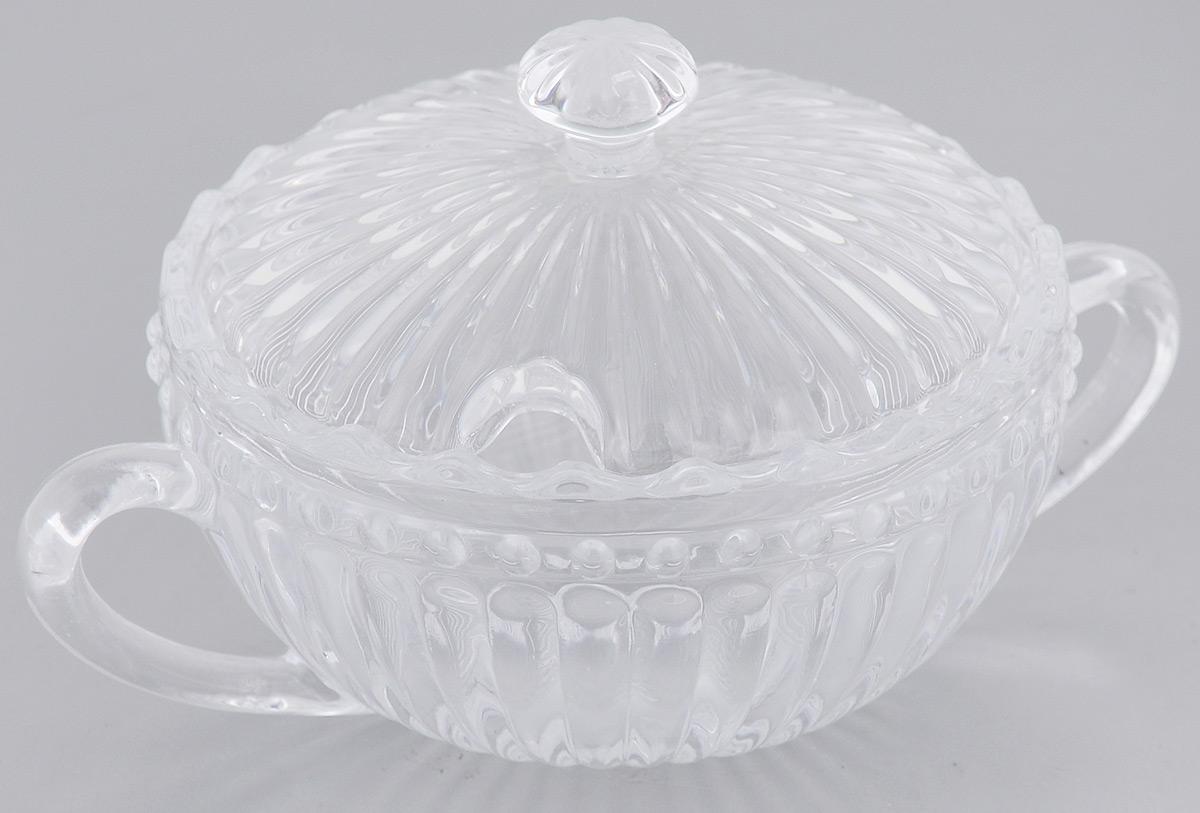 Сахарница Elan Gallery Полоска, с крышкой, 180 мл890089Компактная сахарница с крышкой Полоска изготовлена из прозрачного стекла. Придаст легкость и воздушность сервировке стола и создаст особую атмосферу праздника. Сахар, мед, изюм, орехи будут необыкновенно красиво смотреться в ней, и вы всегда можете увидеть, сколько продукта осталось в емкости. Не важно, какая у вас посуда - в цветочек, белая, цветная, в горошек или полоску, посуда из стекла подойдет к любой. Диаметр сахарницы (по верхнему краю): 9 см. Диаметр основания: 5,5 см. Ширина сахарницы с учетом ручек: 13 см. Высота сахарницы (без учета крышки): 5 см. Высота сахарницы (с учетом крышки): 8 см. Объем сахарницы: 180 мл.
