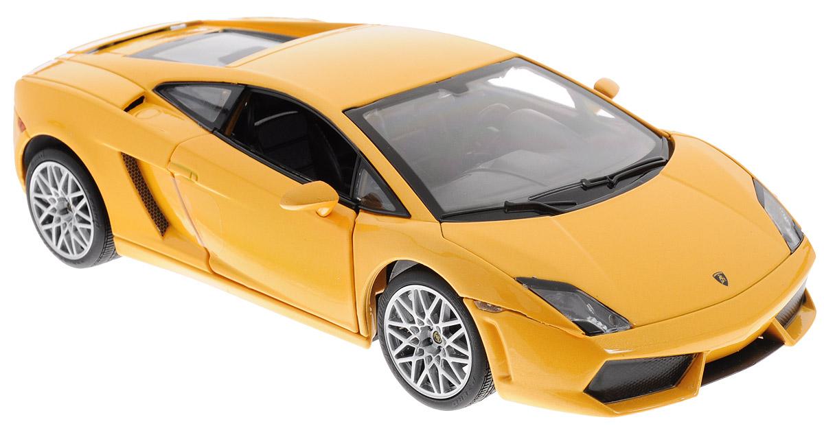 Rastar Модель автомобиля Lamborghini Gallardo LP560 4 цвет желтый34500Коллекционная модель Rastar Lamborghini Gallardo LP560 4 привлечет внимание не только ребенка, но и взрослого коллекционера. Машинка является точной уменьшенной копией настоящего автомобиля, воспроизведенной в масштабе 1/20. Модель выполнена из металла с использованием пластика и оснащена резиновыми колесами, обеспечивающими хорошее сцепление с поверхностью пола. Внутренний интерьер воссоздан с необыкновенной точностью. Колеса и руль модели вращаются, багажник и дверцы открываются. Коллекционная модель Rastar Lamborghini Gallardo LP560 4 станет отличным подарком и украшением любой коллекции!
