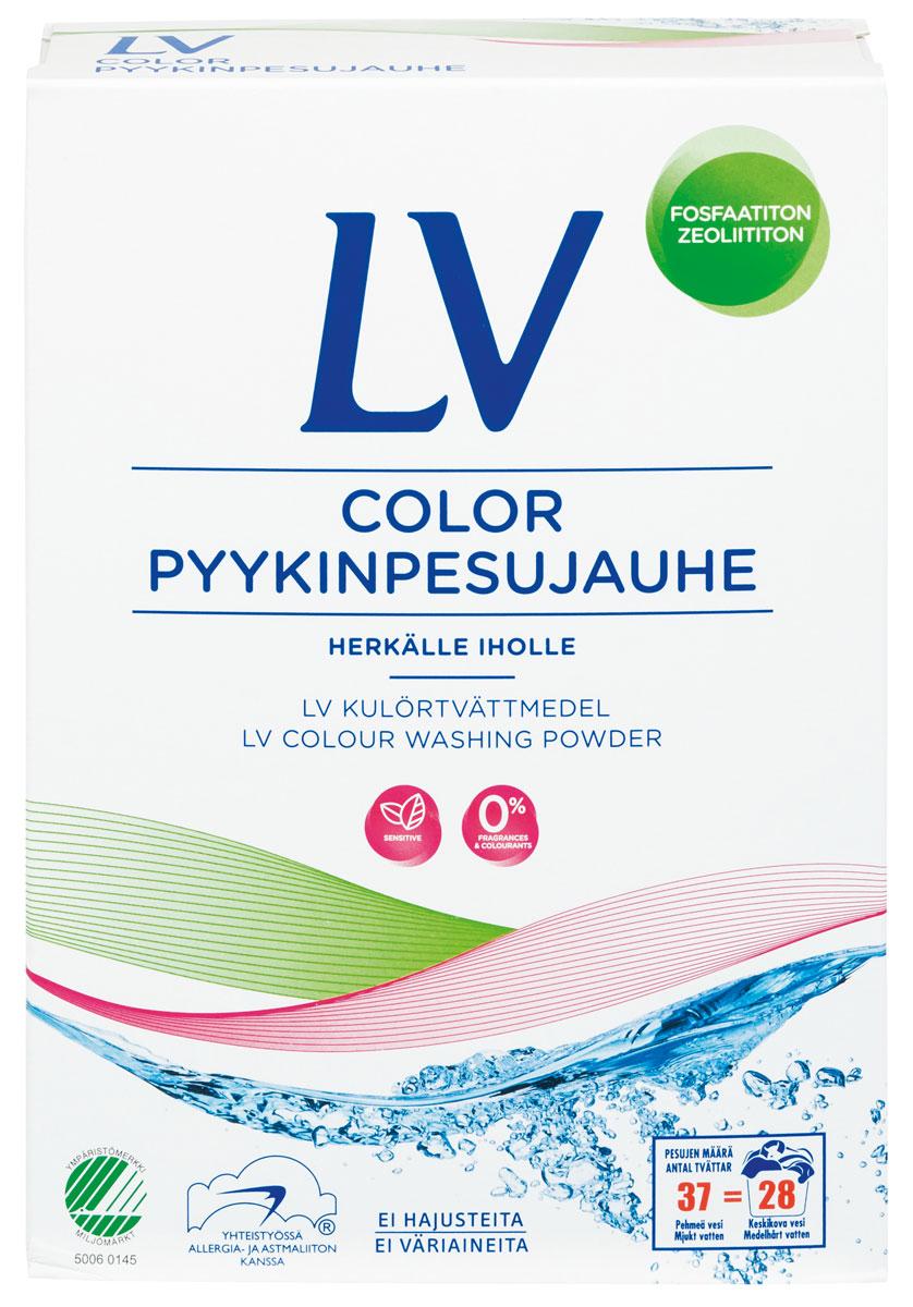 Berner LV Концентрированный стиральный порошок COLOR 1,6 кг92135Концентрированный стиральный порошок для чувствительной кожи (40 машинных стирки, 28 ручных стирок). Не содержит ароматические добавки, красители, цеолит, фосфат, оптические отбеливатели, РН 9,7. Хорошо выполаскивается из белья. Для стирки изделий из цветных тканей, как в стиральной машине любого типа, так и вручную. Не рекомендуется использовать стиральный порошок LV для мытья рук. Для более тщательной стирки или замачивания, используйте распределитель стиральной машины.Подходит для детского белья